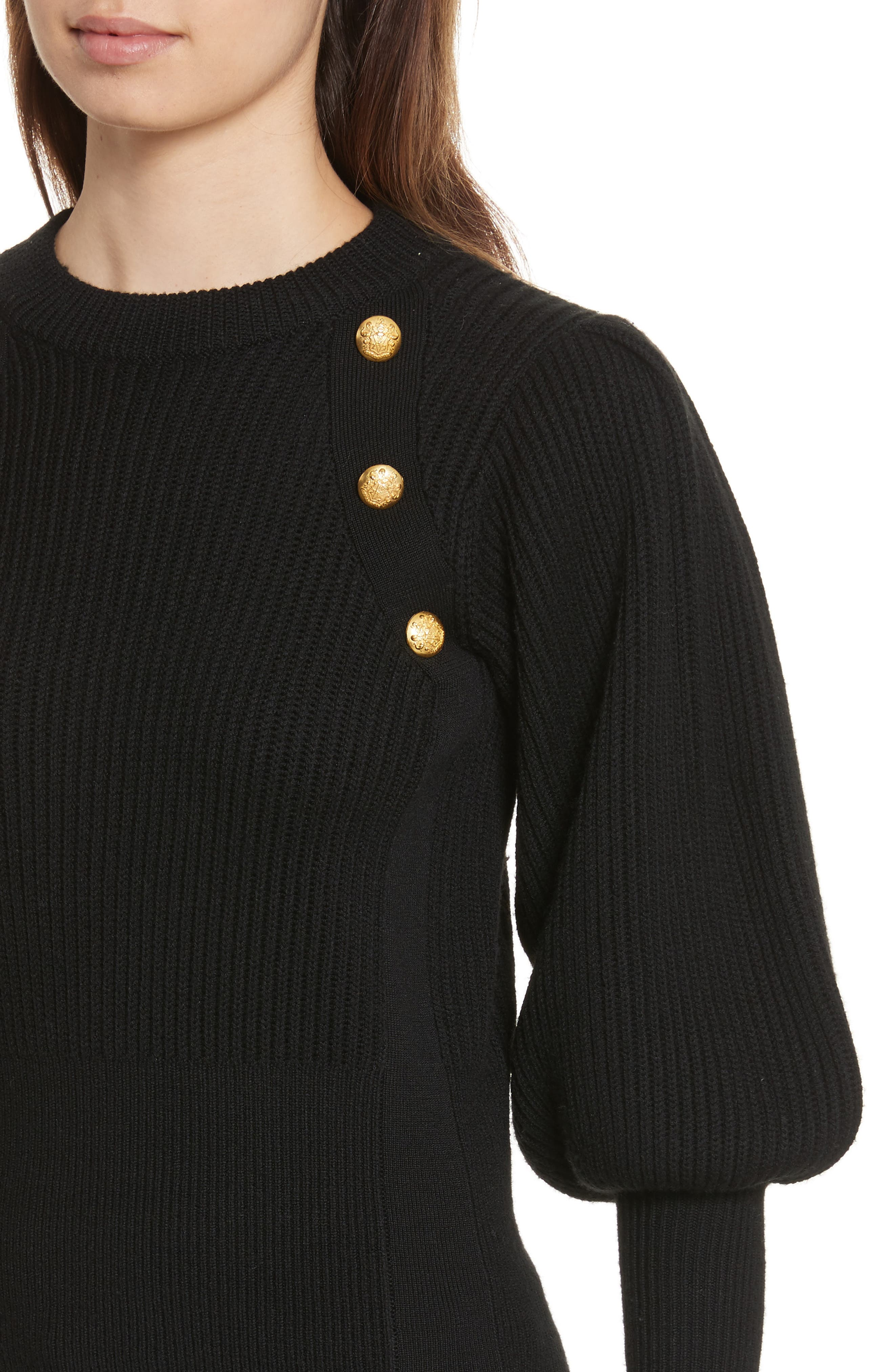 Jude Leg of Mutton Sleeve Sweater,                             Alternate thumbnail 4, color,                             Black
