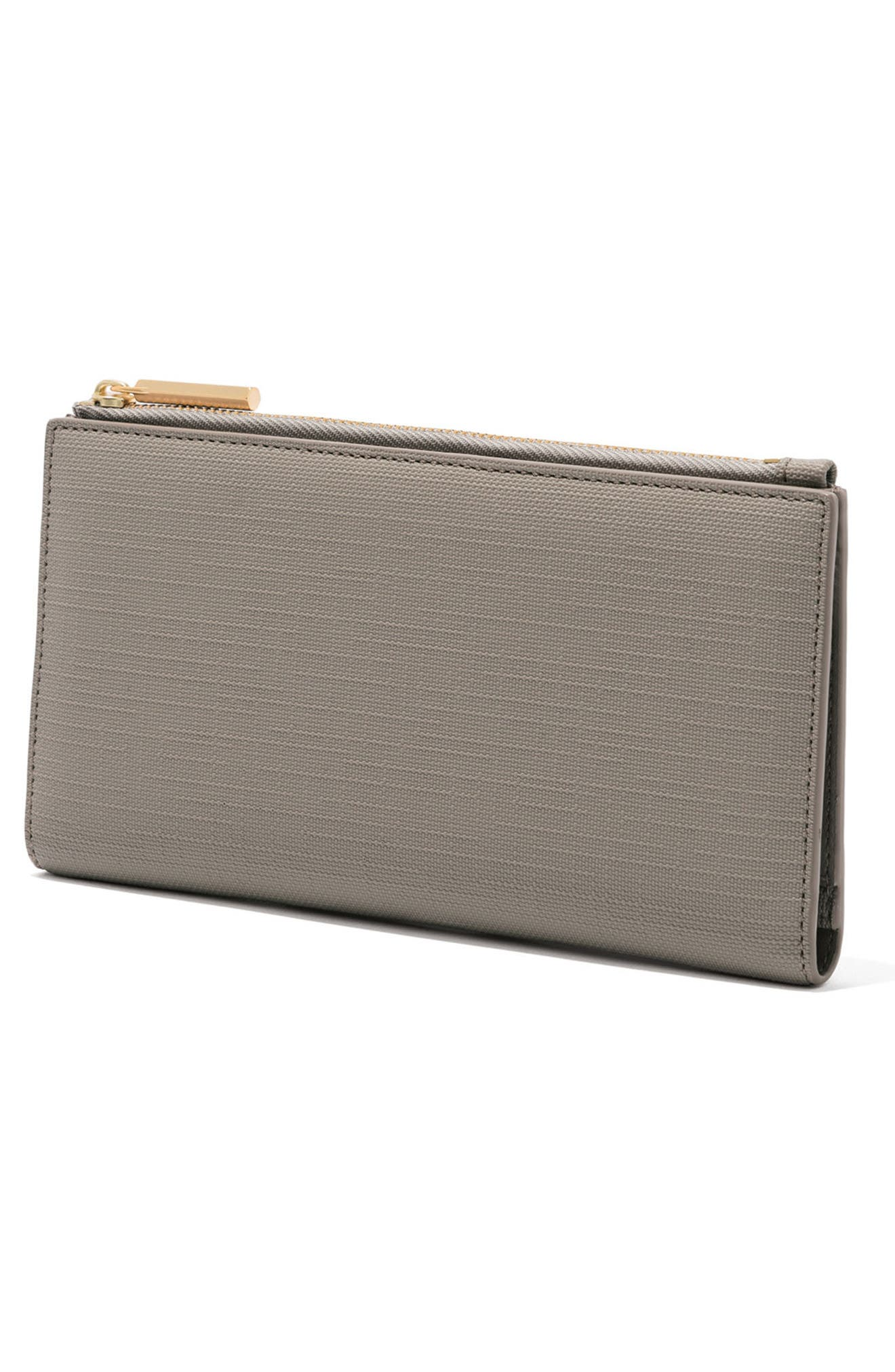 Signature Slim Coated Canvas Wallet,                             Alternate thumbnail 4, color,                             Bleecker Blush