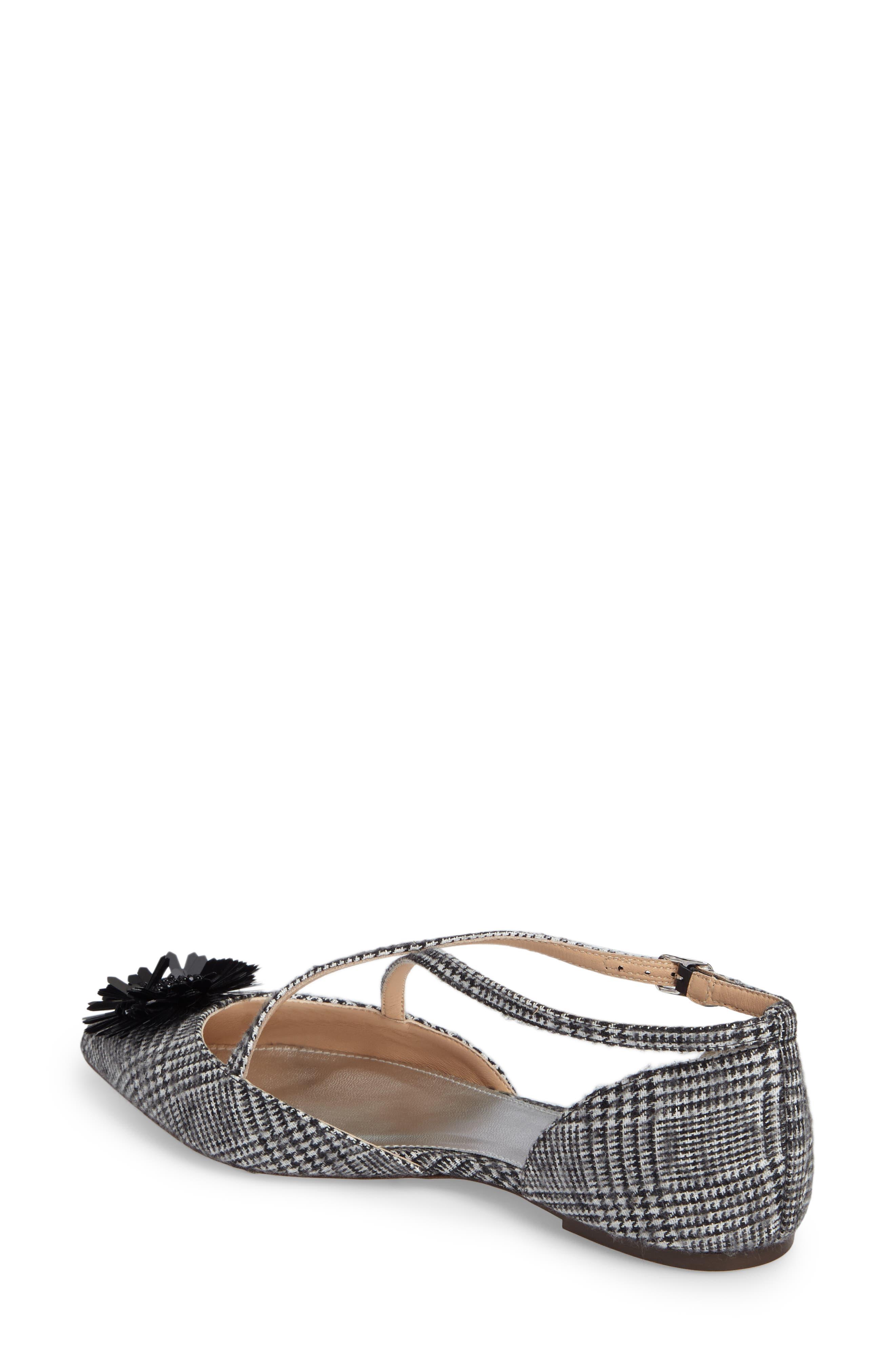 Sadie Cross Strap Pointy Toe Flat,                             Alternate thumbnail 2, color,                             Black/ White Fabric