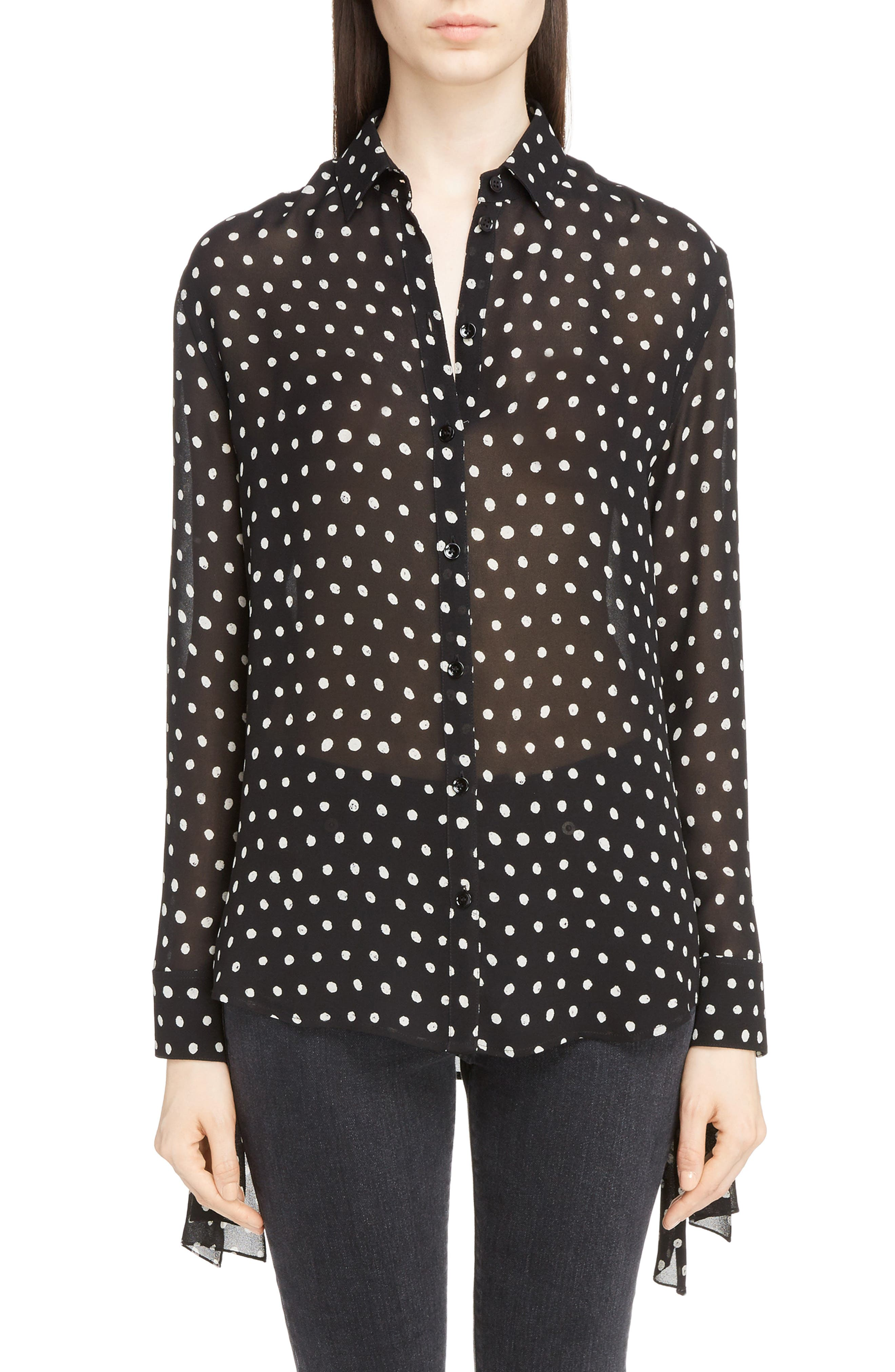 Saint Laurent Tie Cuff Polka Dot Blouse