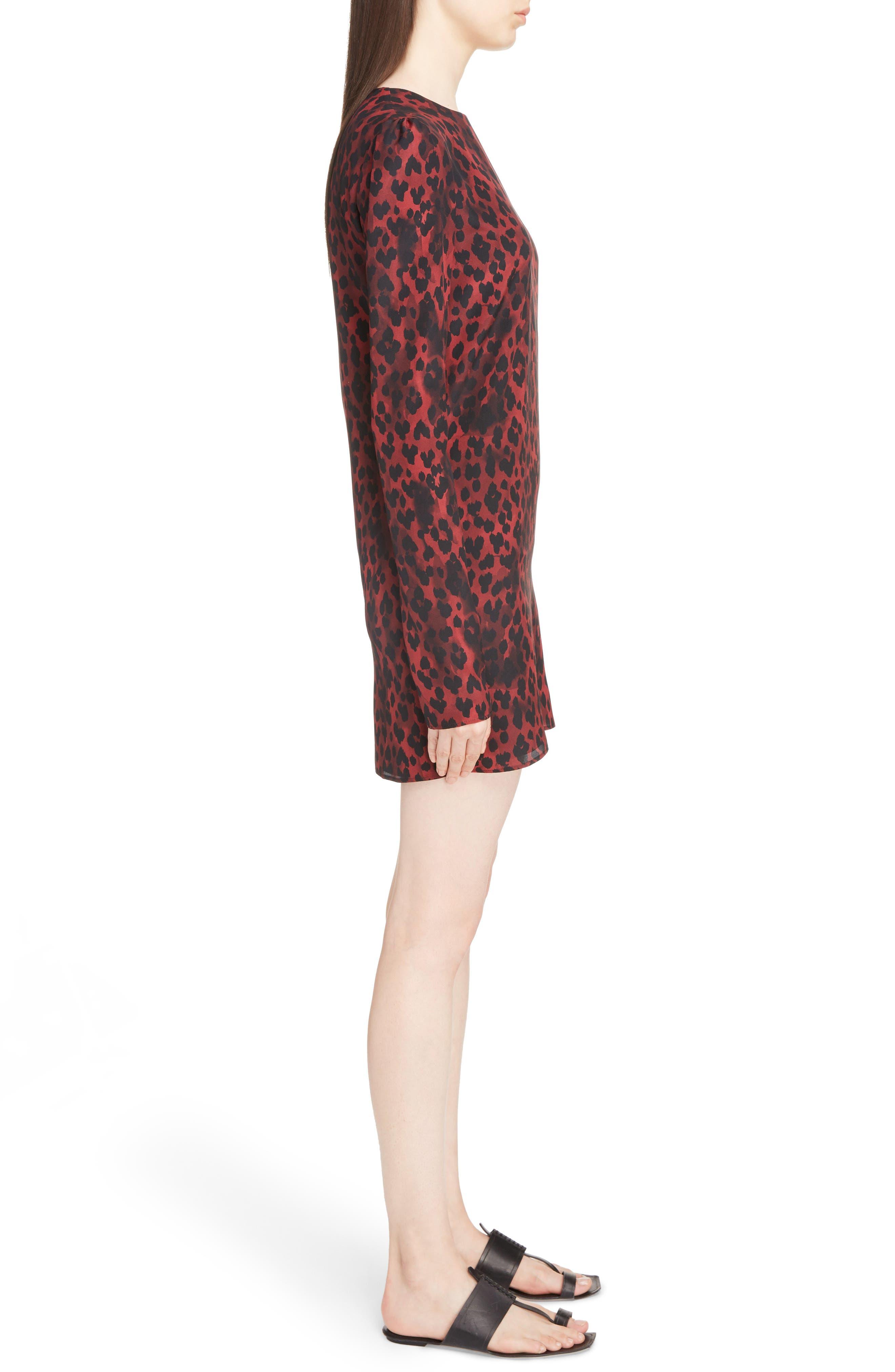 Silk Crêpe de Chine Leopard Print Shift Dress,                             Alternate thumbnail 3, color,                             Rouge