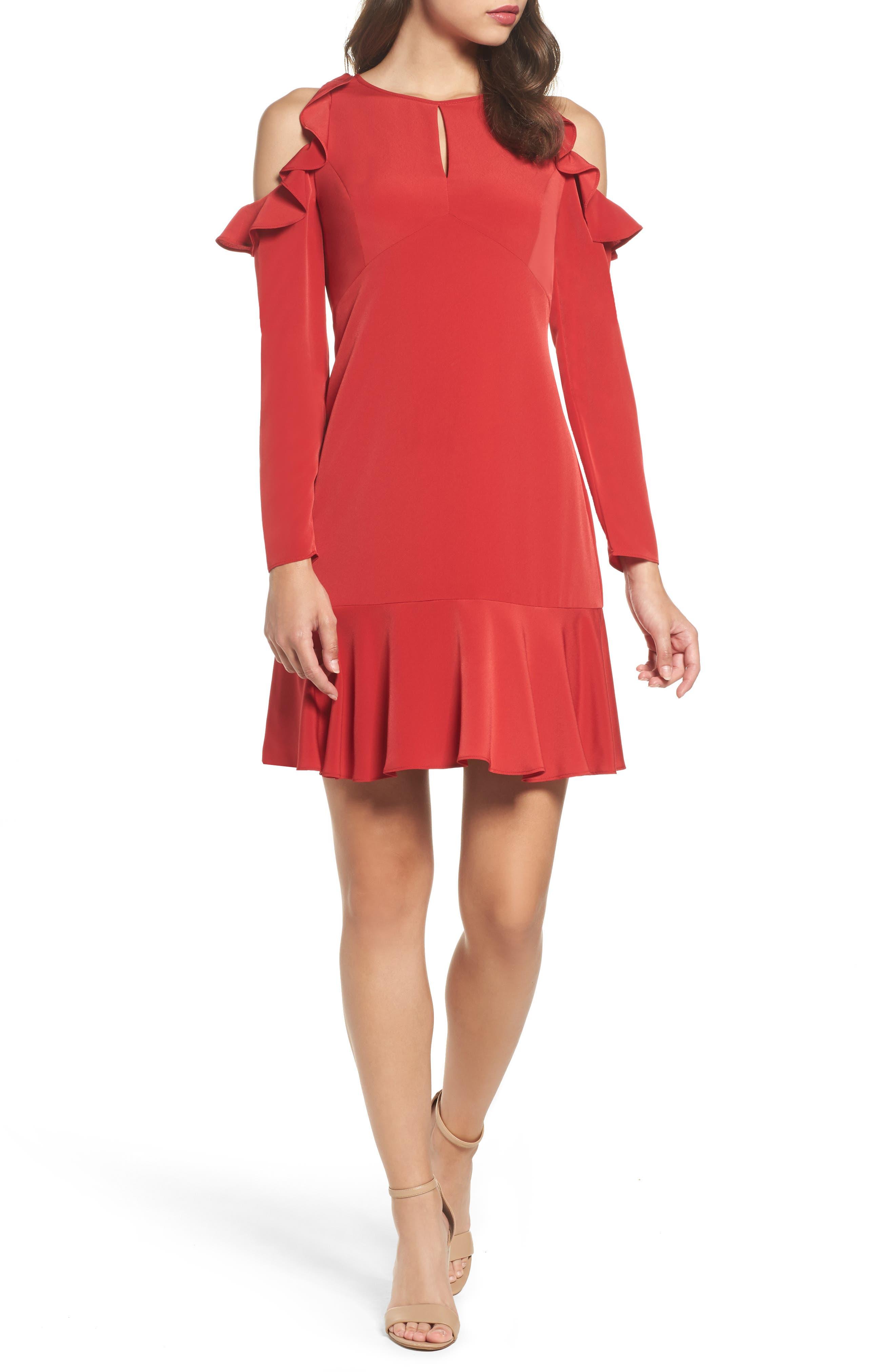 Main Image - Julia Jordan Ruffle Cold Shoulder Dress