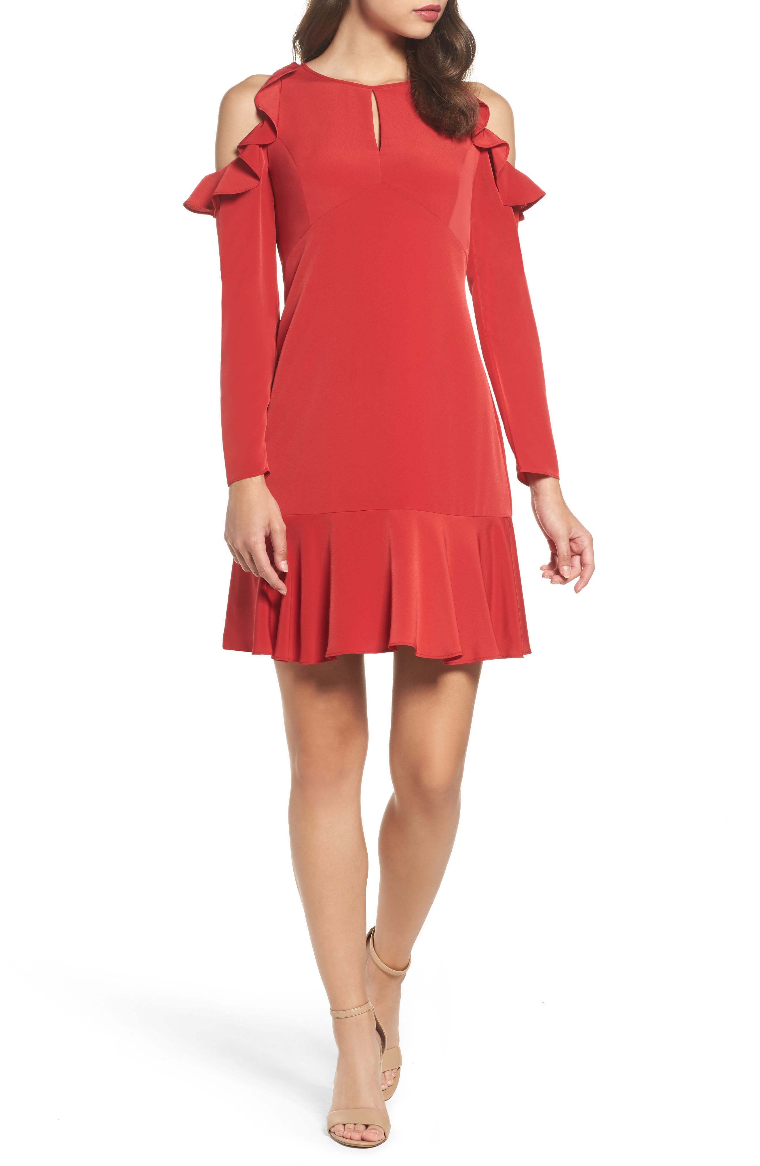 Ruffle Cold Shoulder Dress,                         Main,                         color, Red