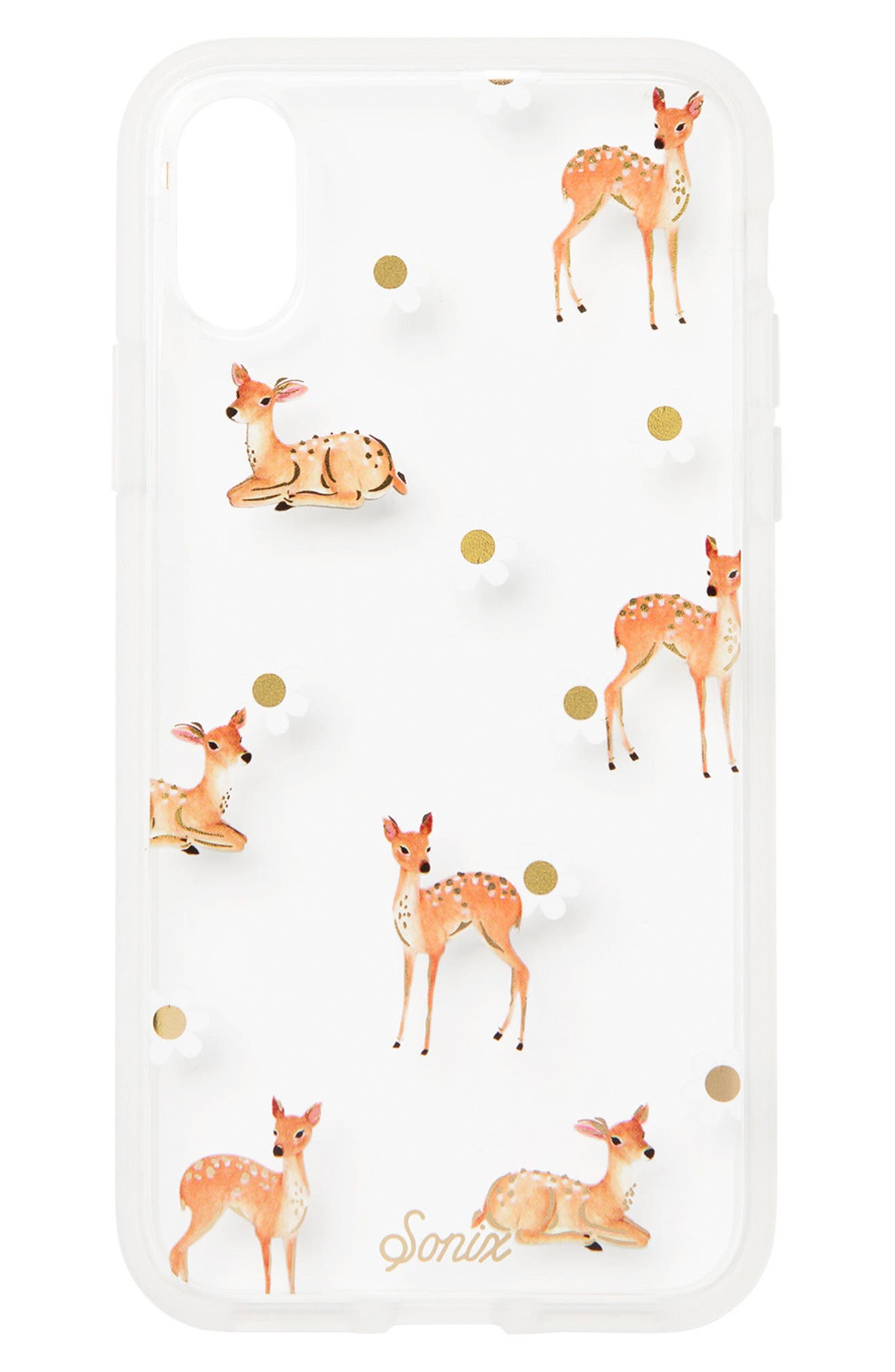Deer Print iPhone X Case,                         Main,                         color, Clear/ Multi