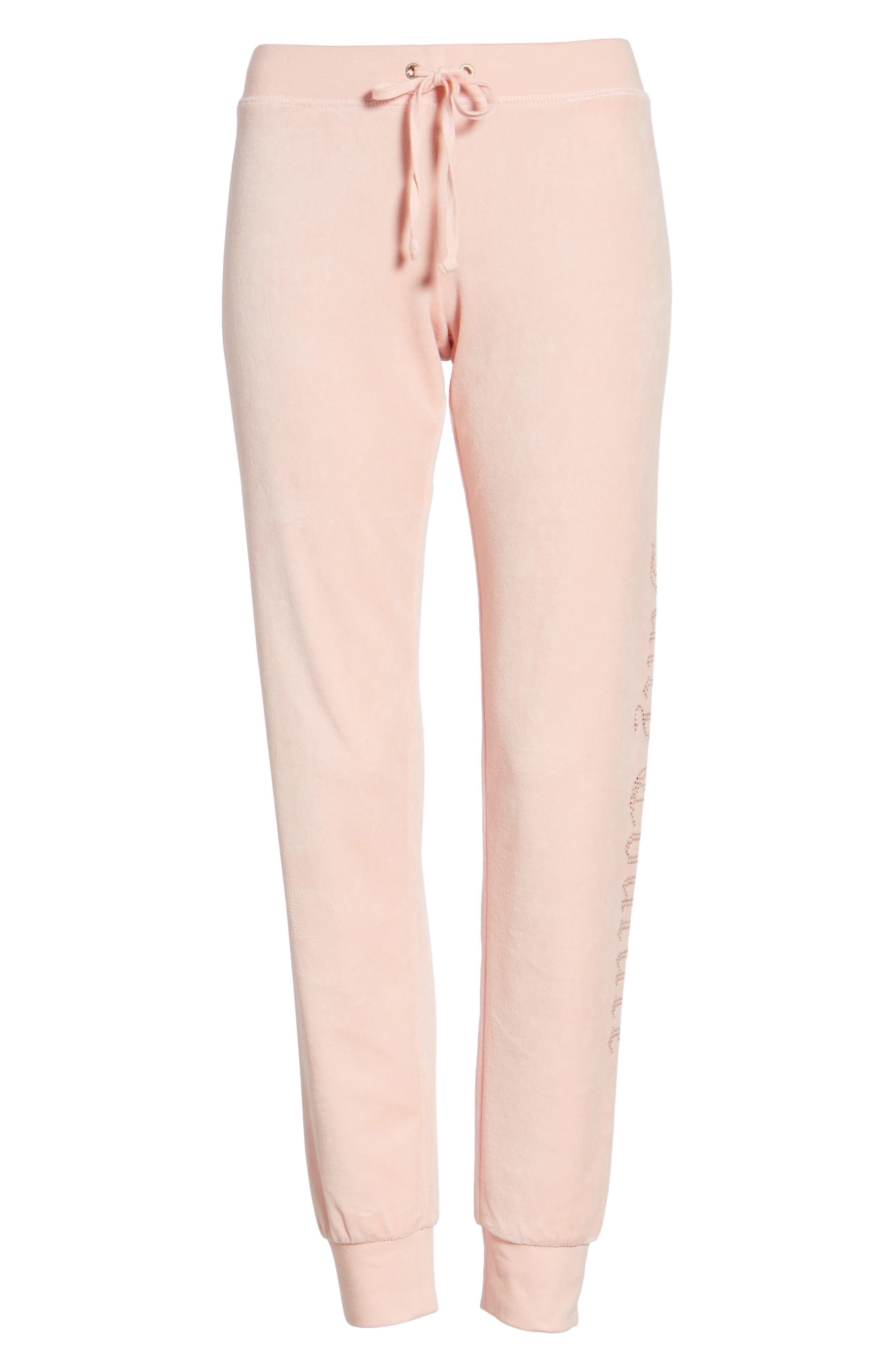 Zuma Crystal Velour Pants,                         Main,                         color, Sugared Icing