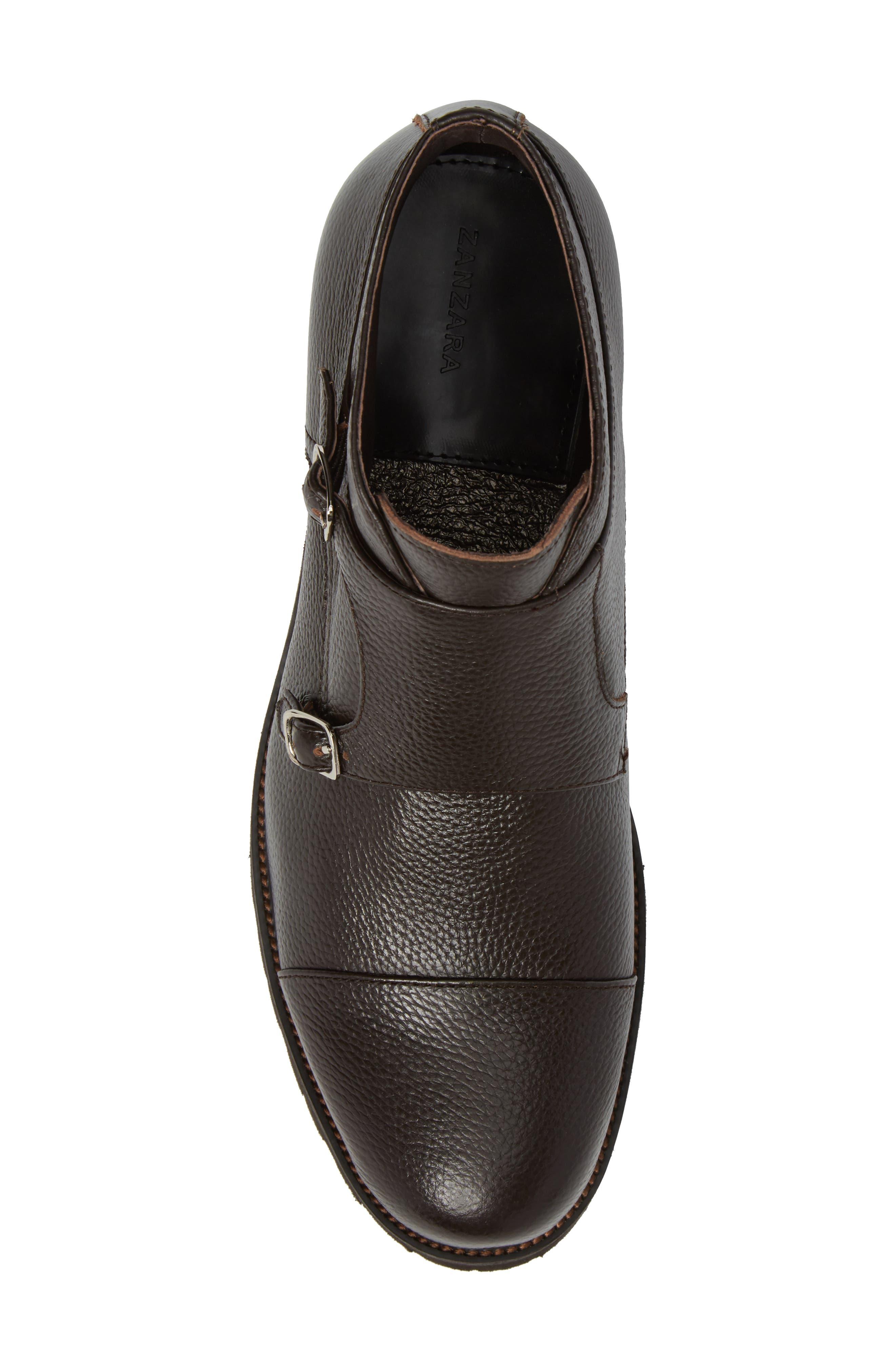 Koller Cap Toe Double Monk Boot,                             Alternate thumbnail 5, color,                             Black Leather