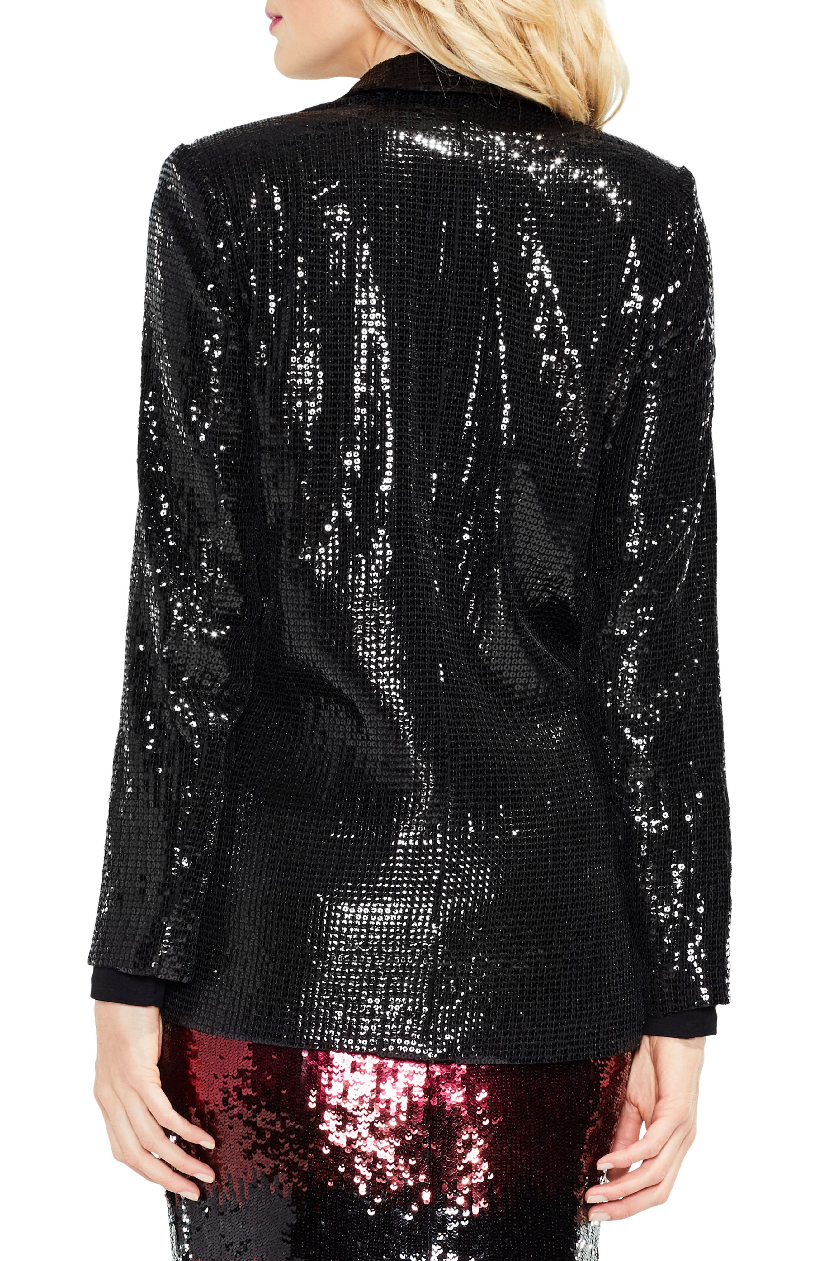Sequin Jacket,                             Alternate thumbnail 3, color,                             Rich Black