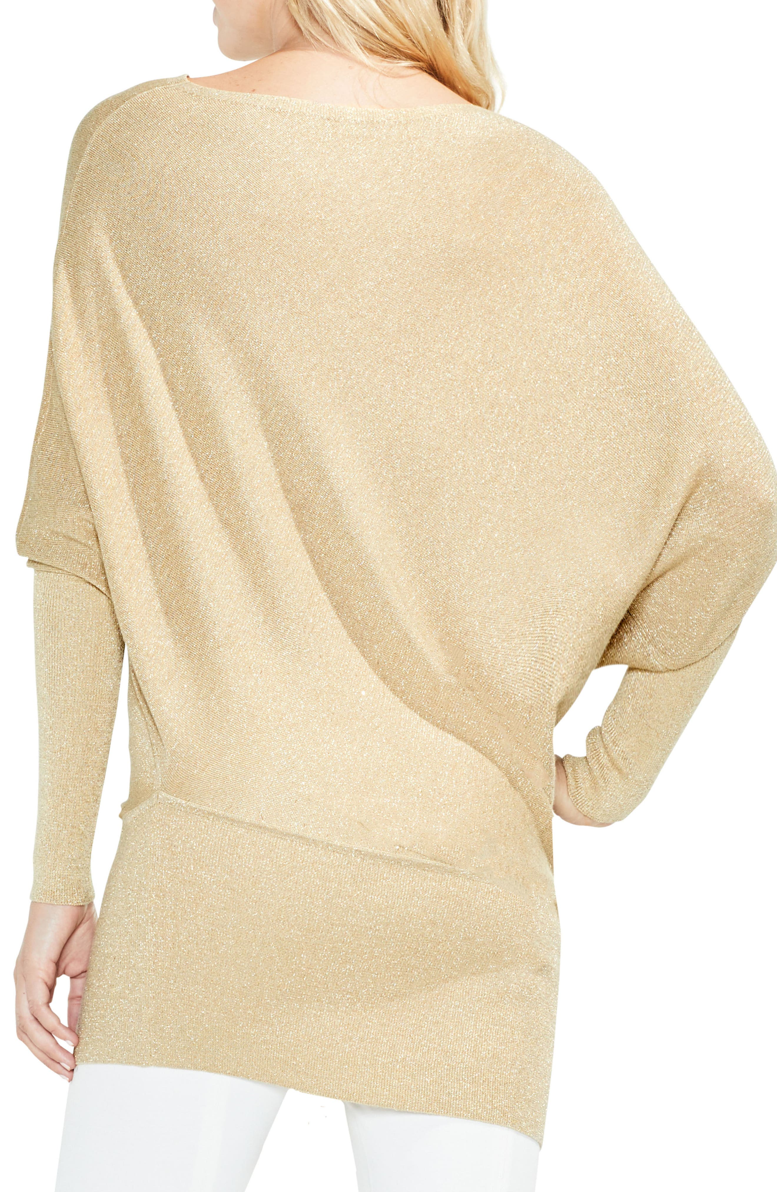 Batwing Sleeve Metallic Sweater,                             Alternate thumbnail 2, color,                             Bisque