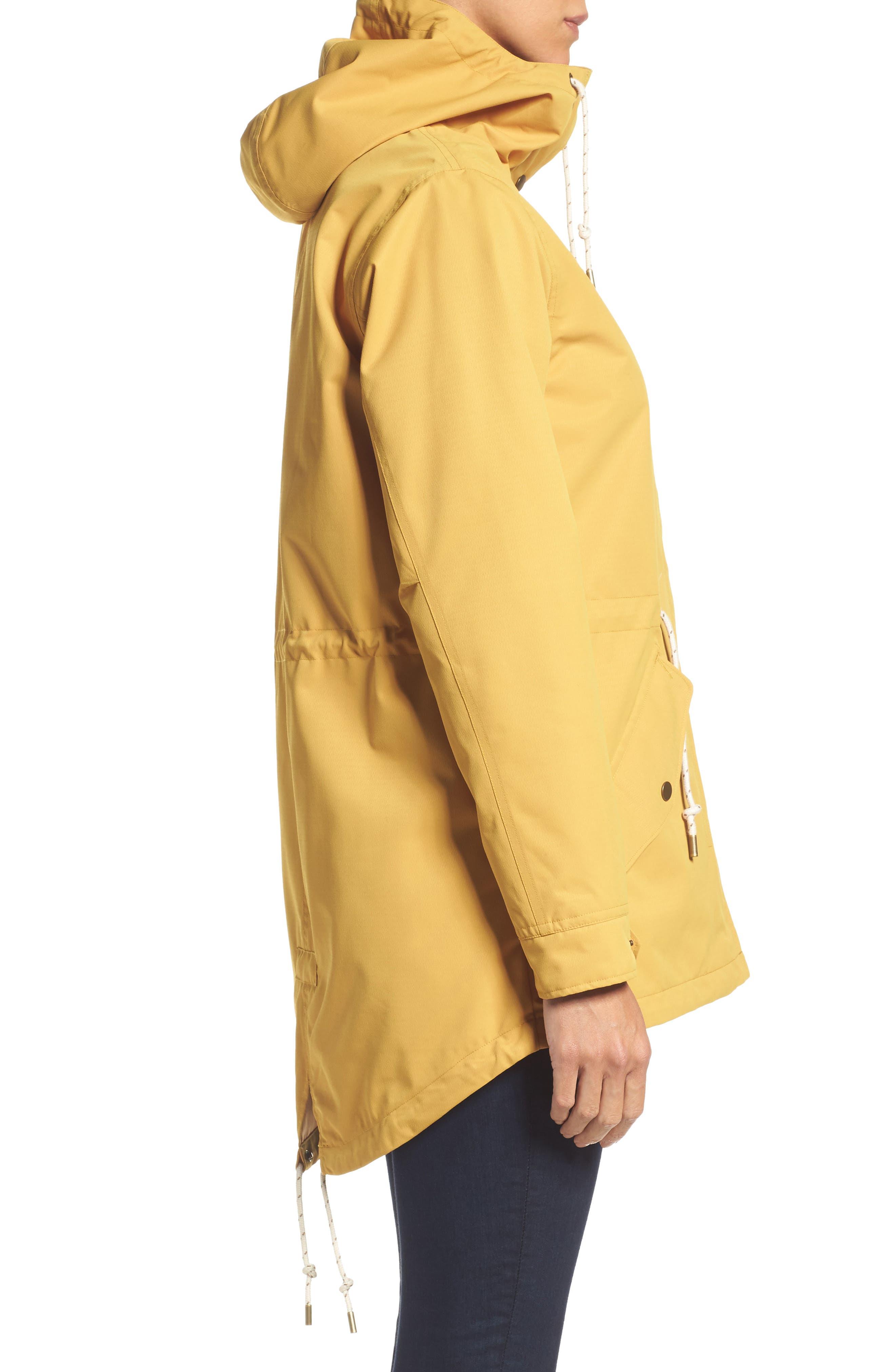 Sadie Waterproof Hooded Jacket,                             Alternate thumbnail 3, color,                             Harvest Gold