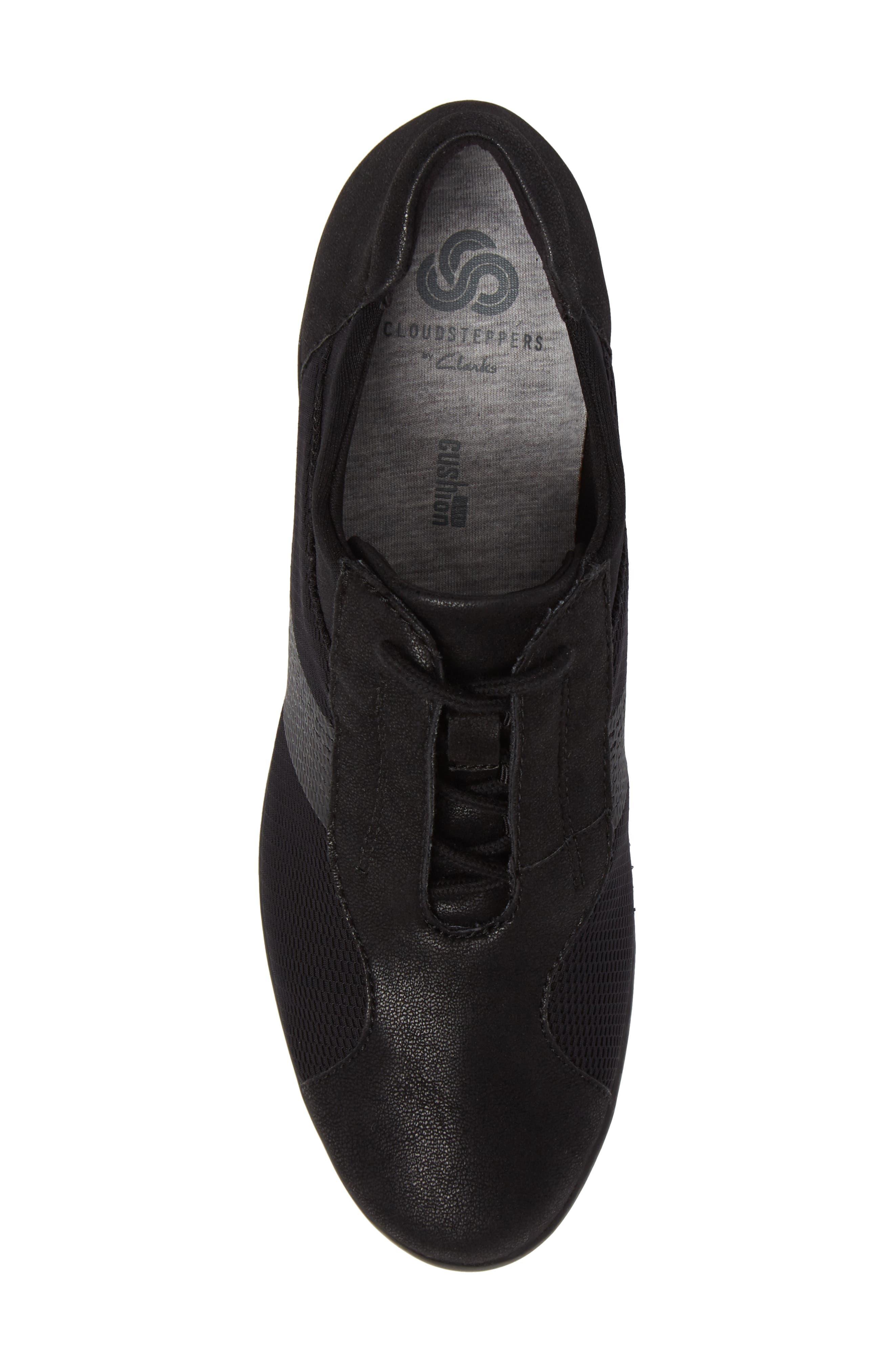 Caddell Fly Sneaker,                             Alternate thumbnail 5, color,                             Black Fabric