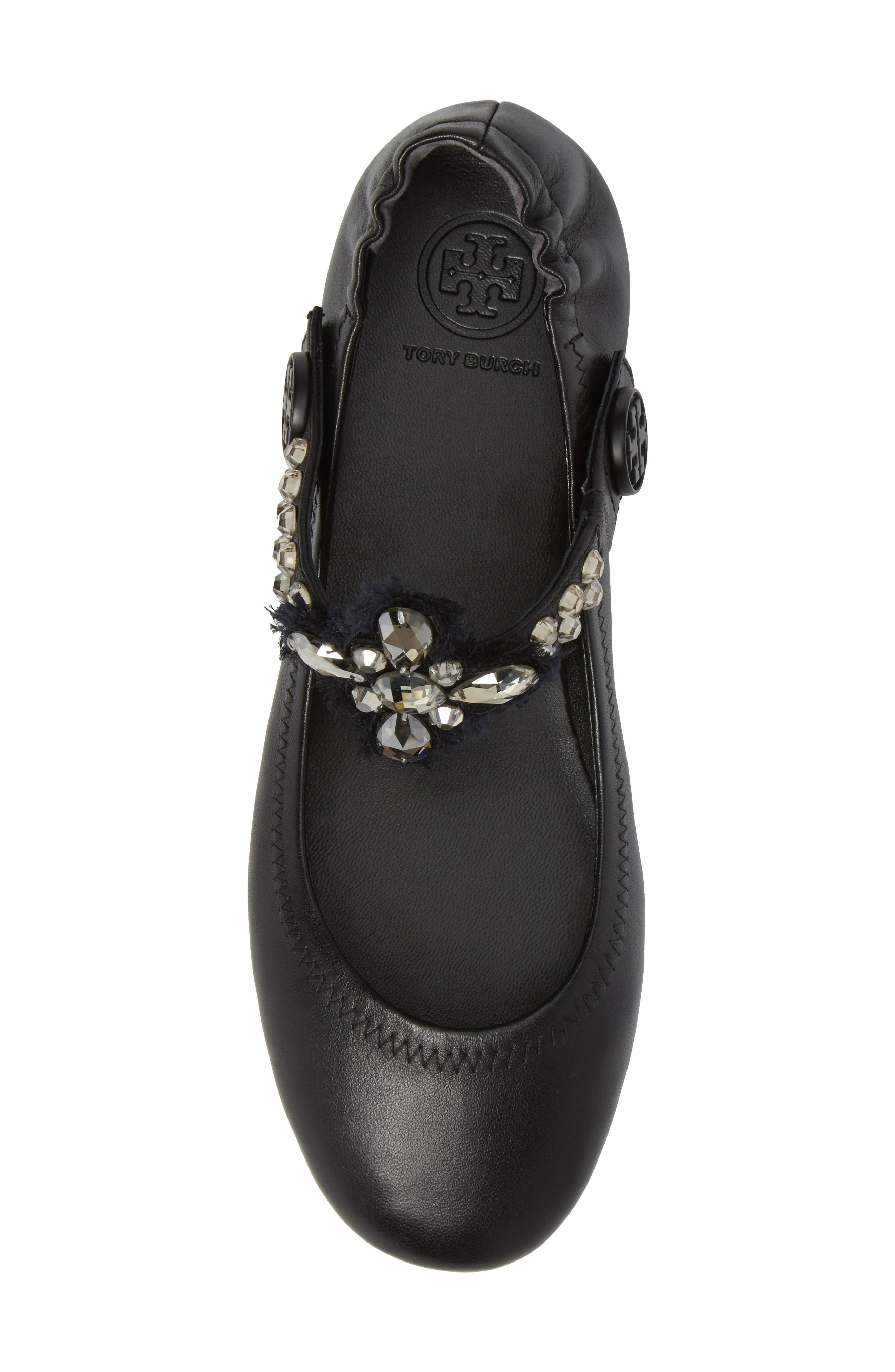 Minnie Embellished Convertible Strap Ballet Flat,                             Alternate thumbnail 5, color,                             Black/ Clear