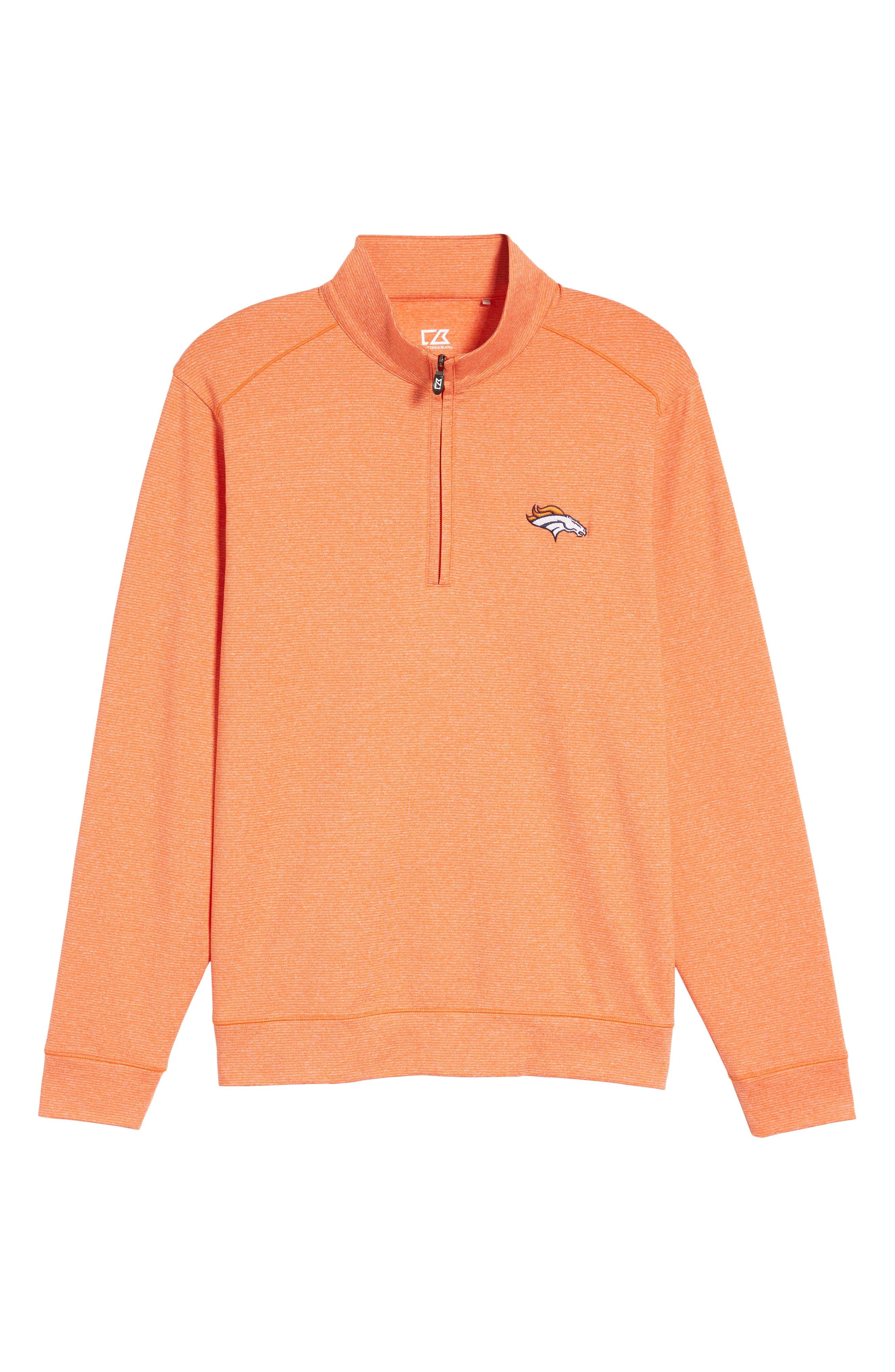 Shoreline - Denver Broncos Half Zip Pullover,                             Alternate thumbnail 6, color,                             College Orange Heather