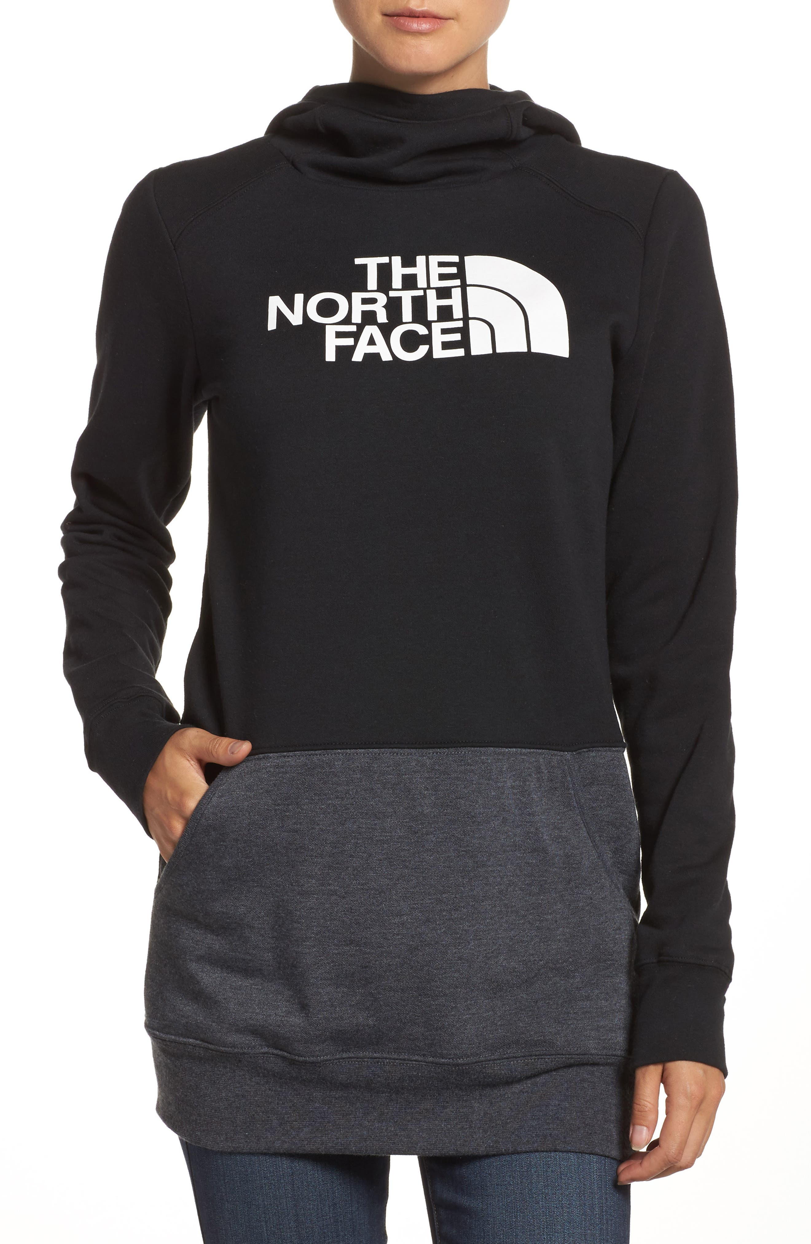 Half Dome Extra Long Hoodie,                             Main thumbnail 1, color,                             Tnf Black/ Tnf White