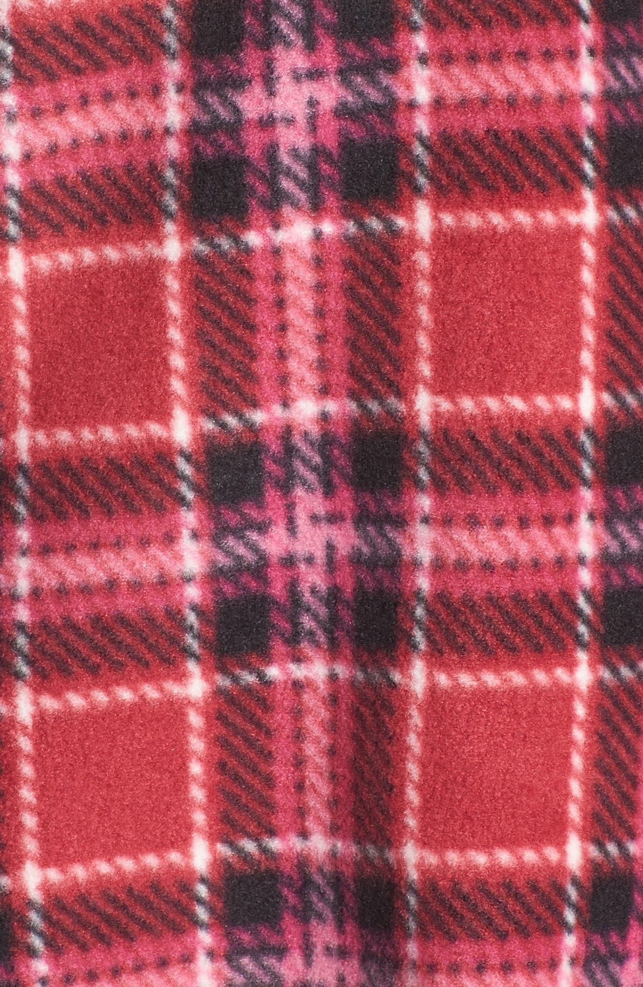 Stretch Fleece Long Pajamas,                             Alternate thumbnail 6, color,                             Red Plaid