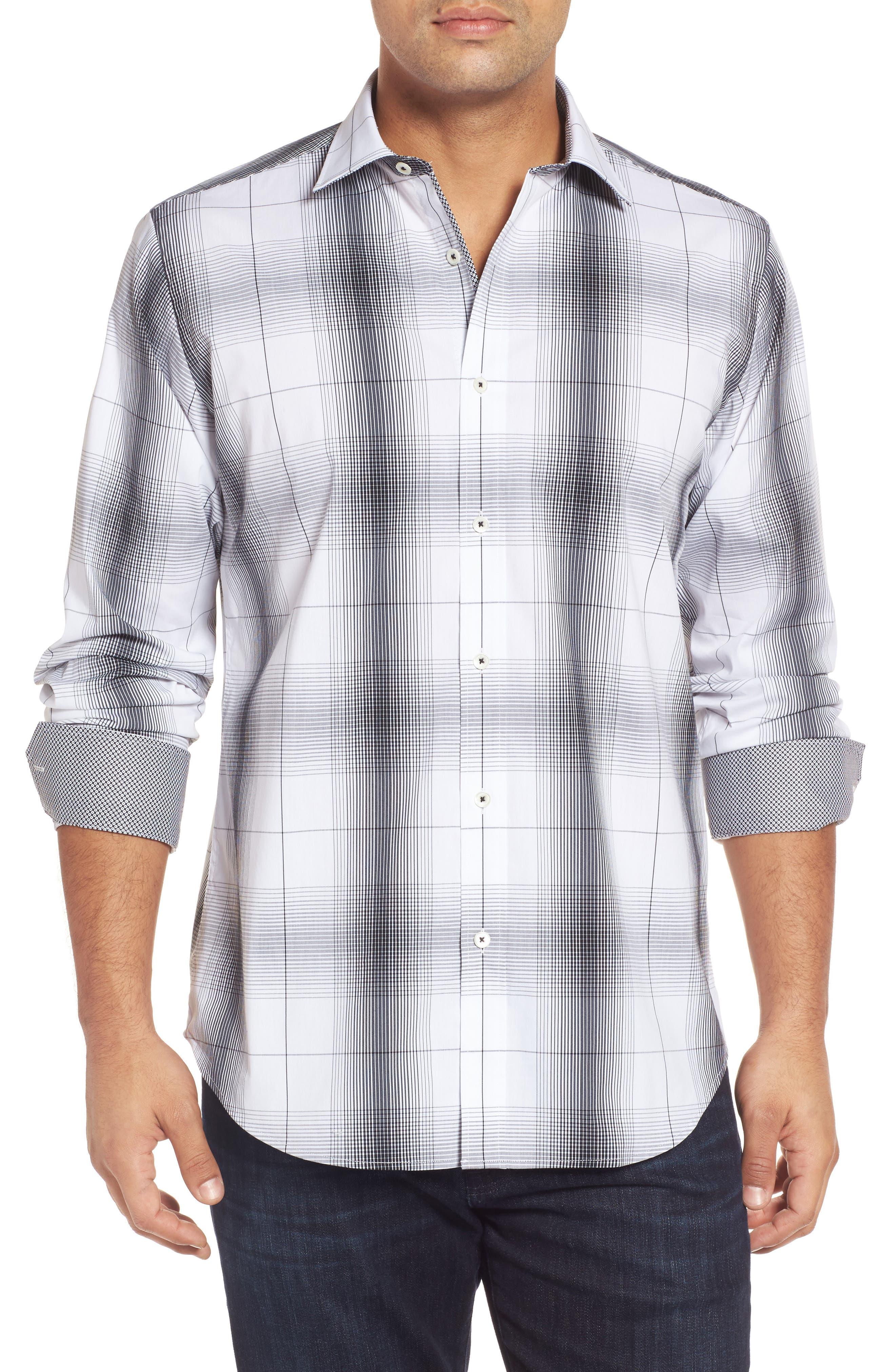 Classic Fit Ombré Plaid Sport Shirt,                         Main,                         color, Chalk
