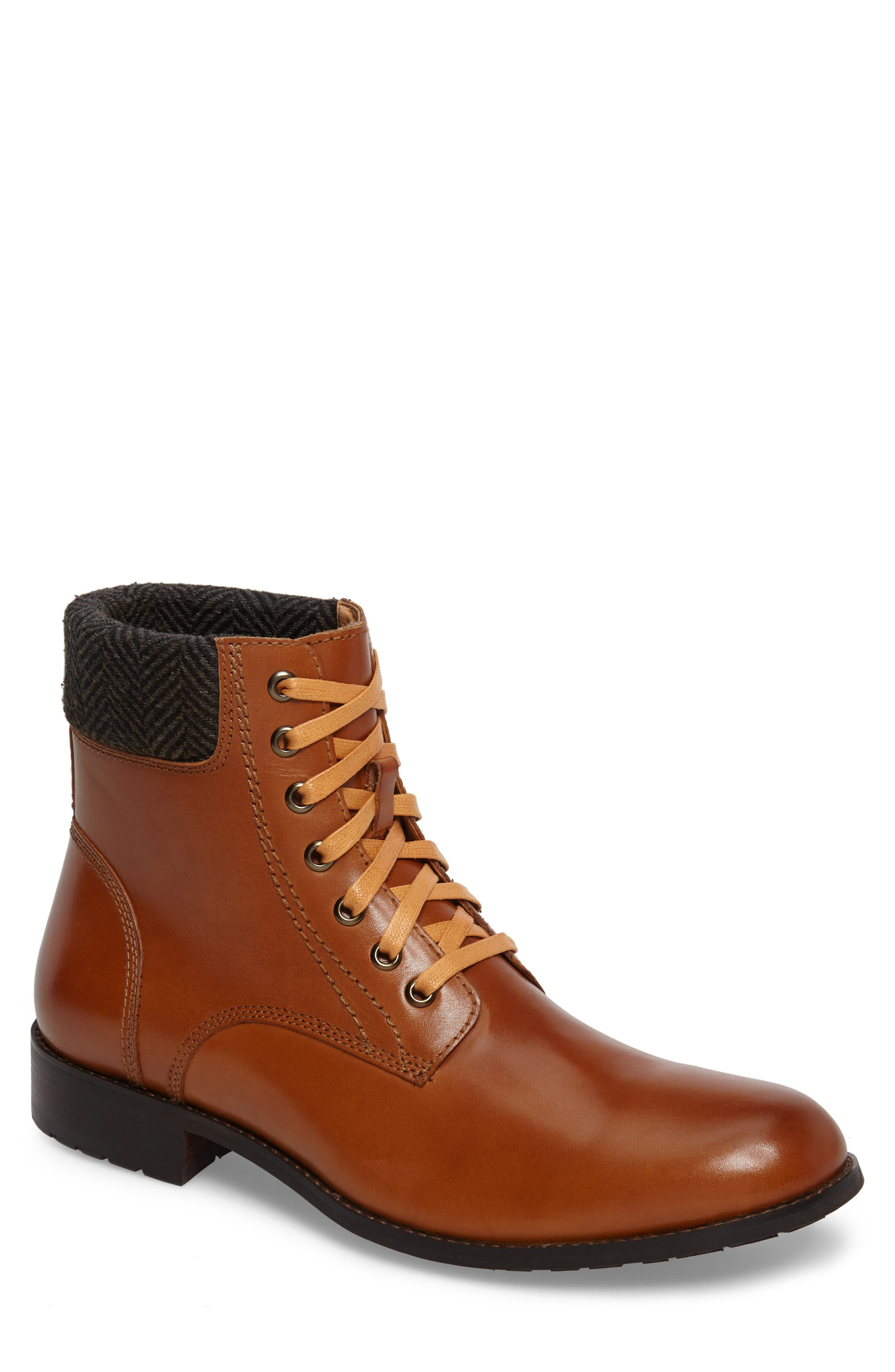 Saar Plain Toe Boot,                             Main thumbnail 1, color,                             Cognac Leather