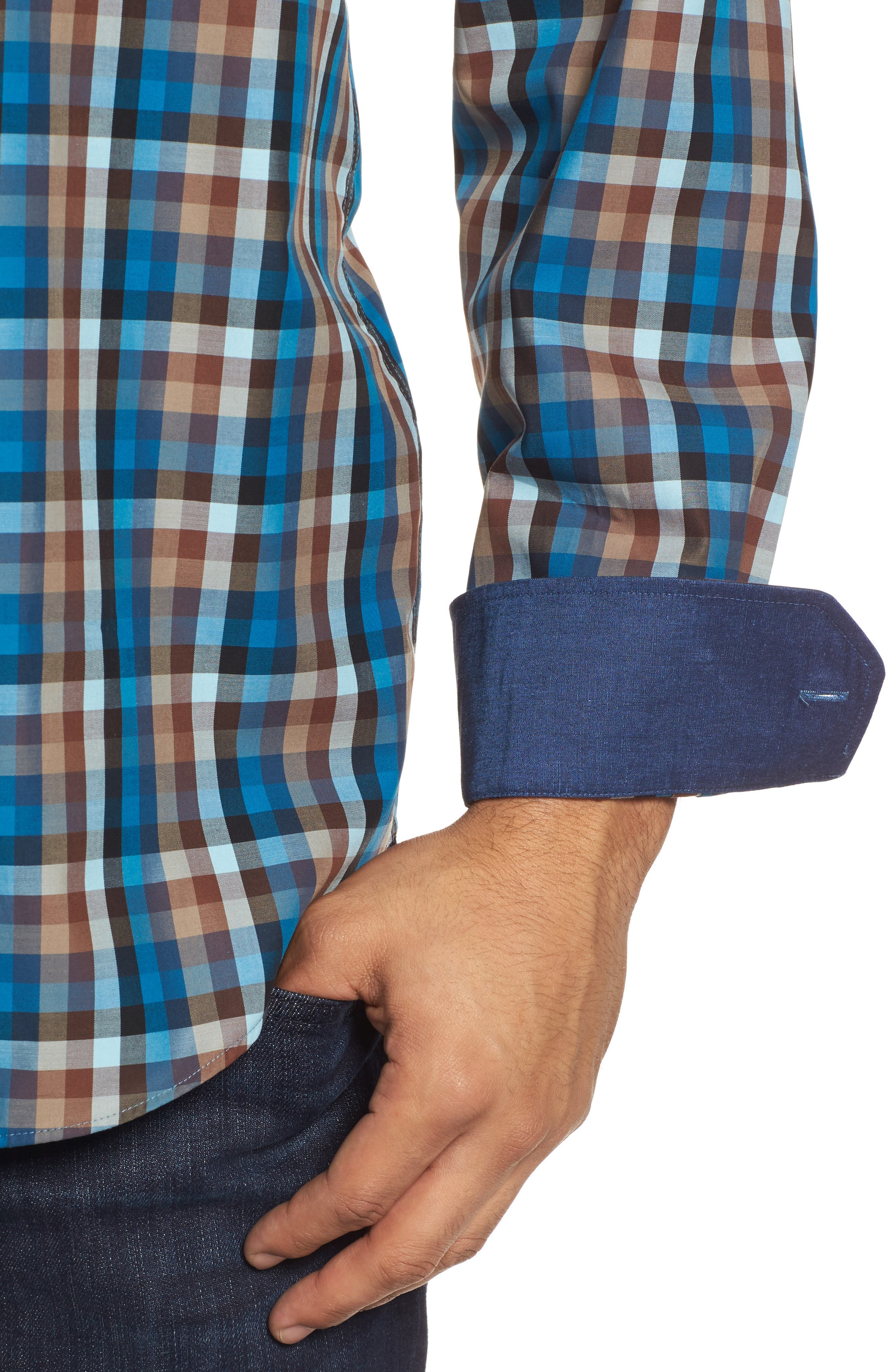 Classic Fit Twill Check Sport Shirt,                             Alternate thumbnail 4, color,                             Mocha