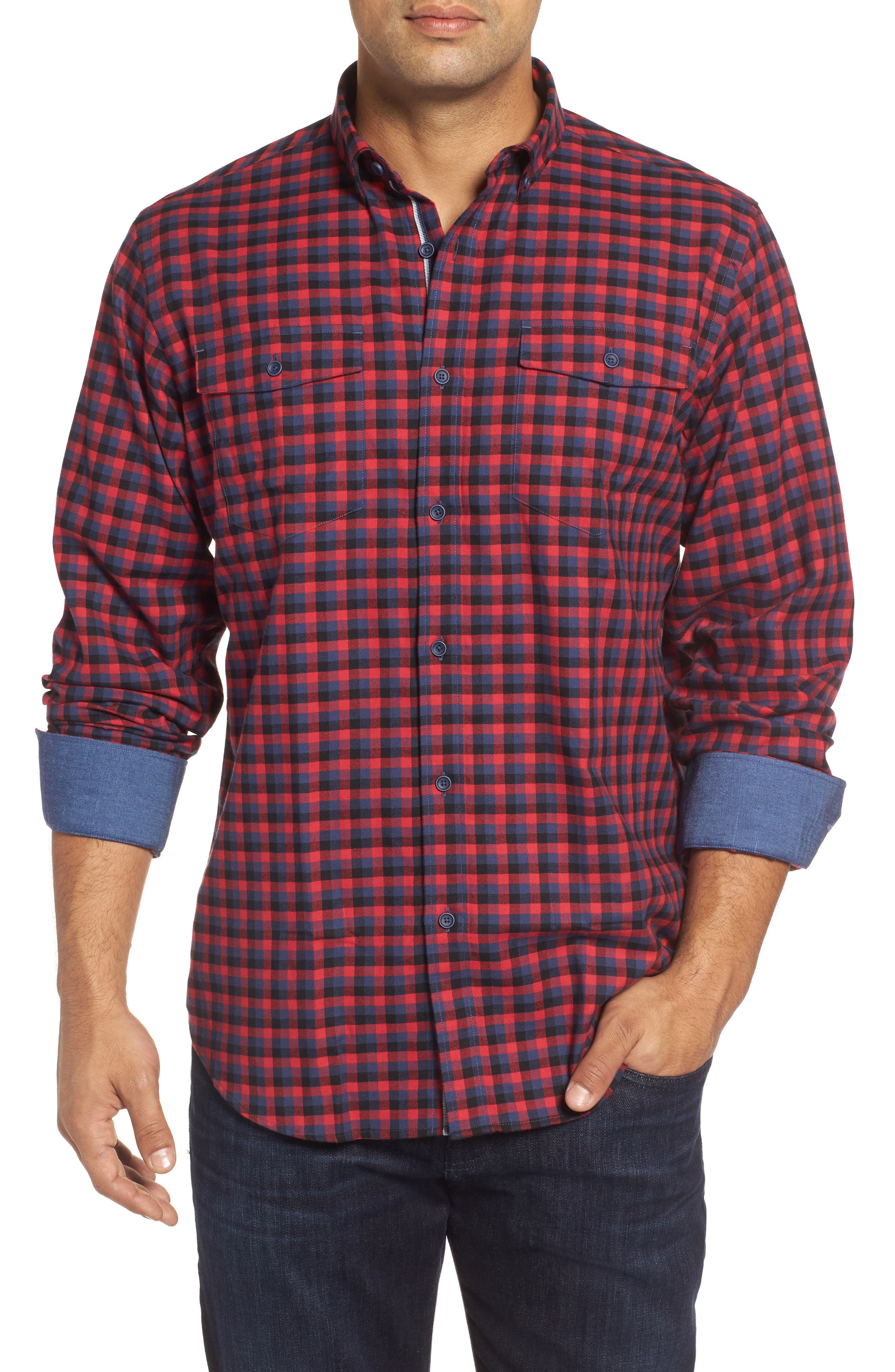 Classic Fit Buffalo Check Flannel Sport Shirt,                         Main,                         color, Ruby
