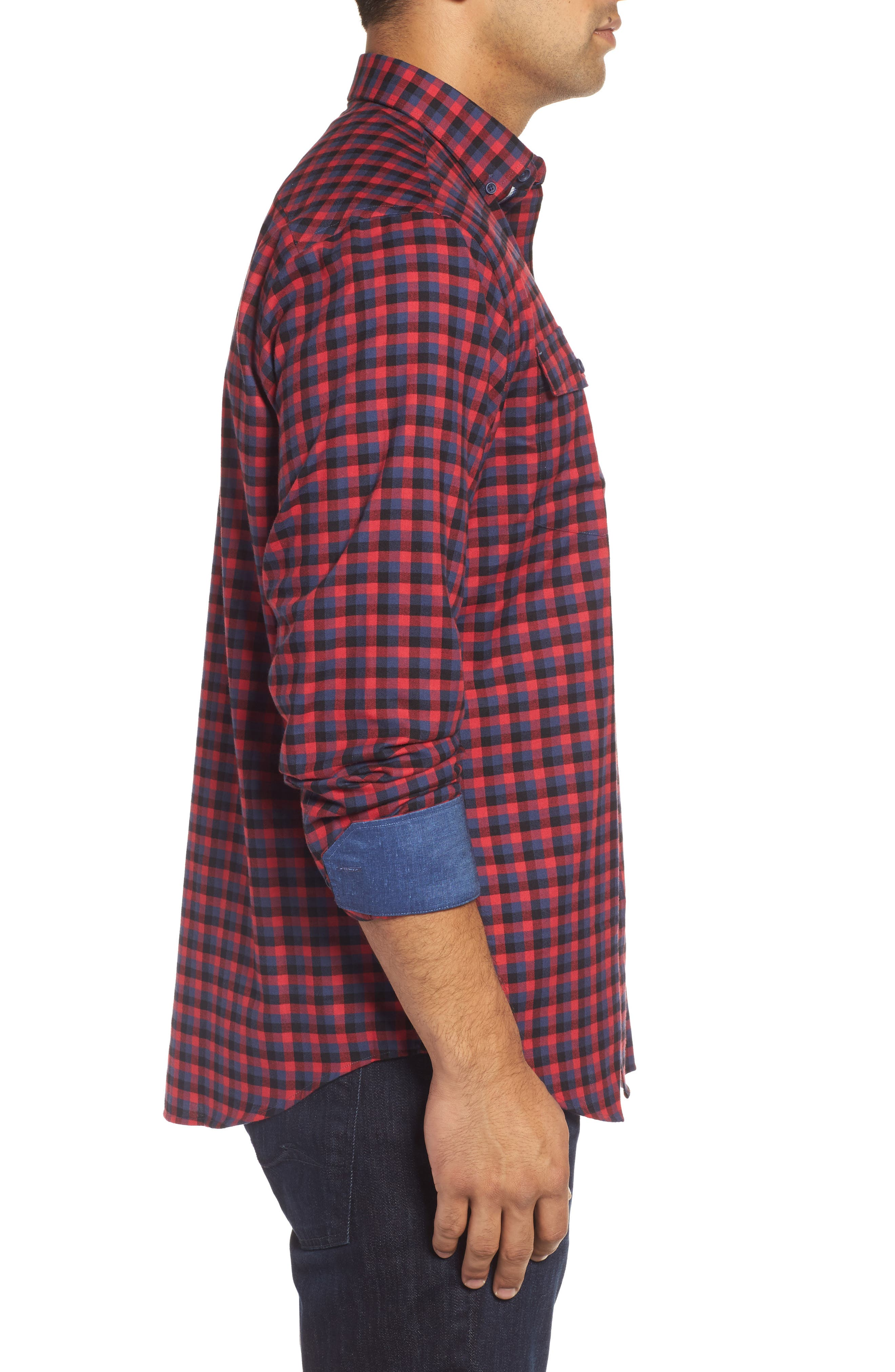 Classic Fit Buffalo Check Flannel Sport Shirt,                             Alternate thumbnail 3, color,                             Ruby