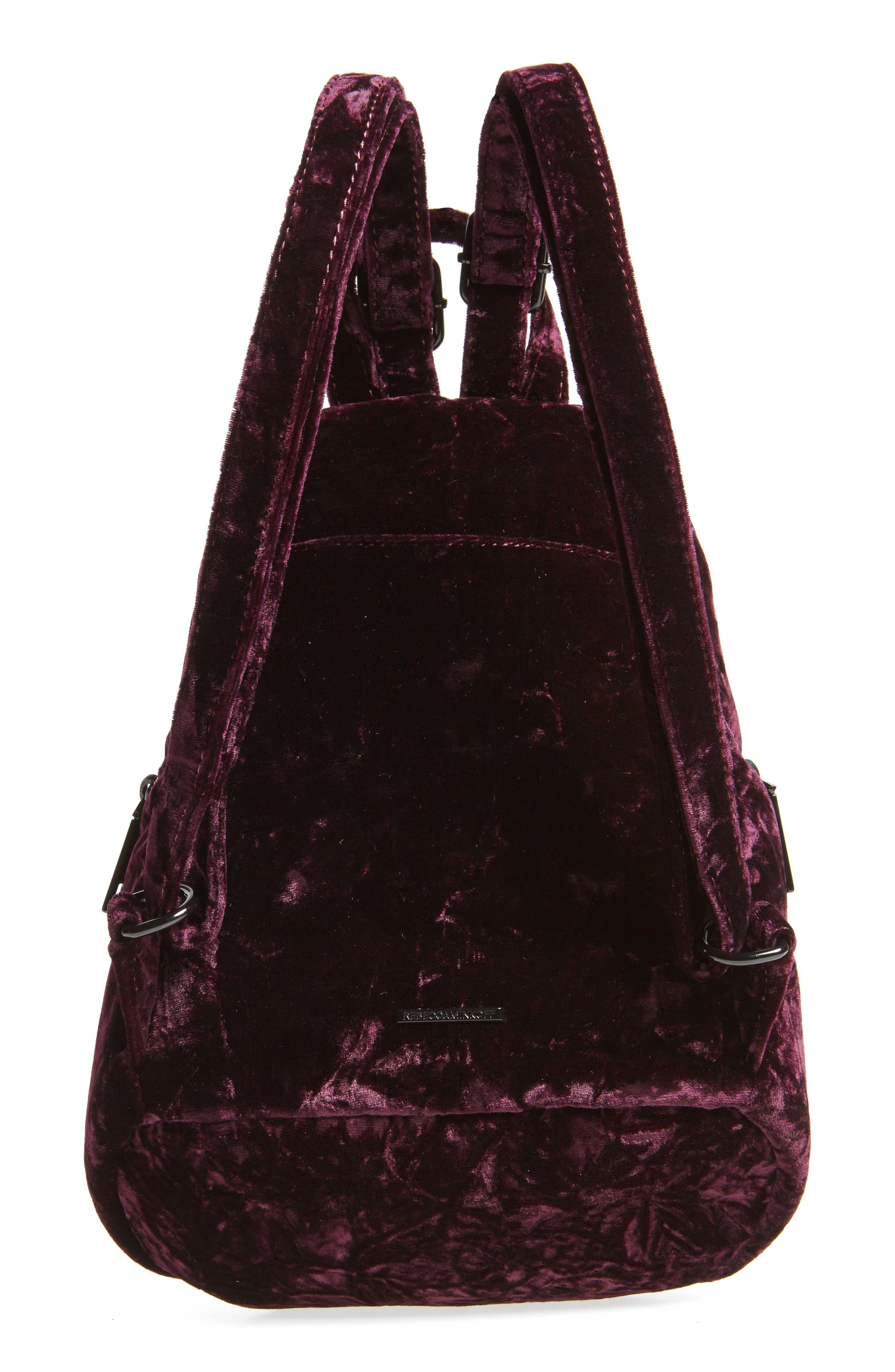 Julian Velvet Backpack,                             Alternate thumbnail 3, color,                             Dark Cherry