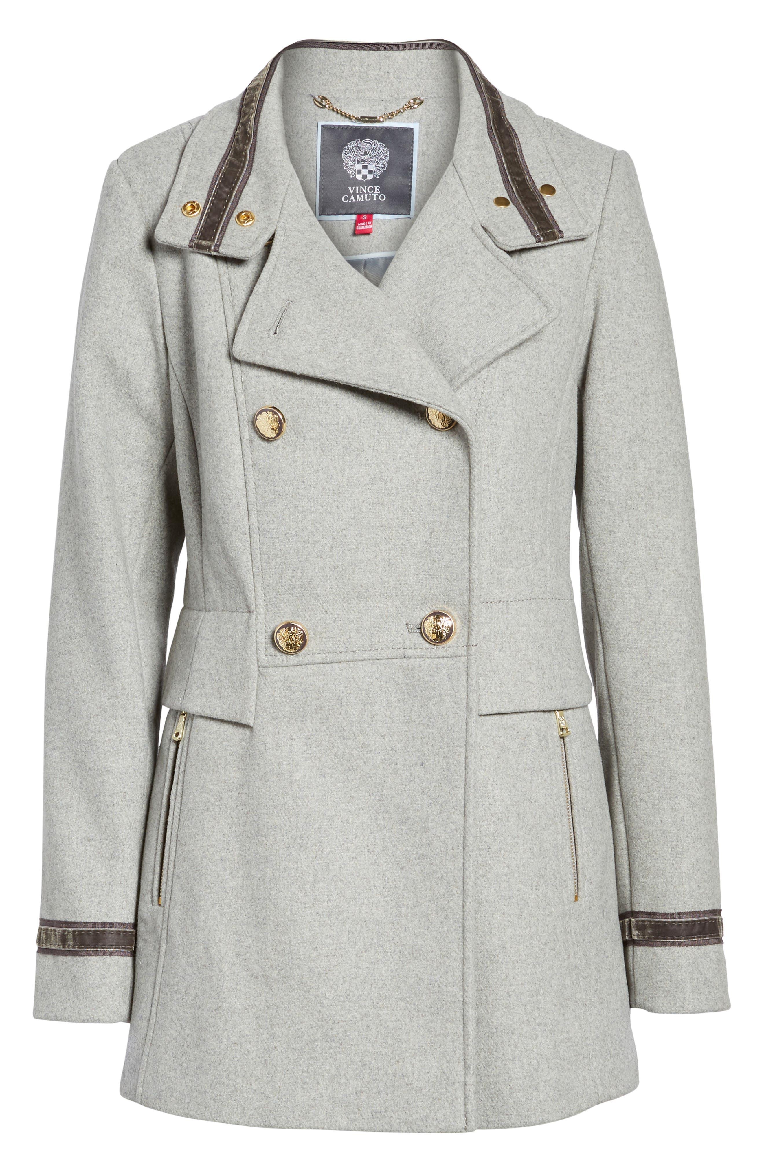 Wool Blend Military Coat,                         Main,                         color, Light Grey