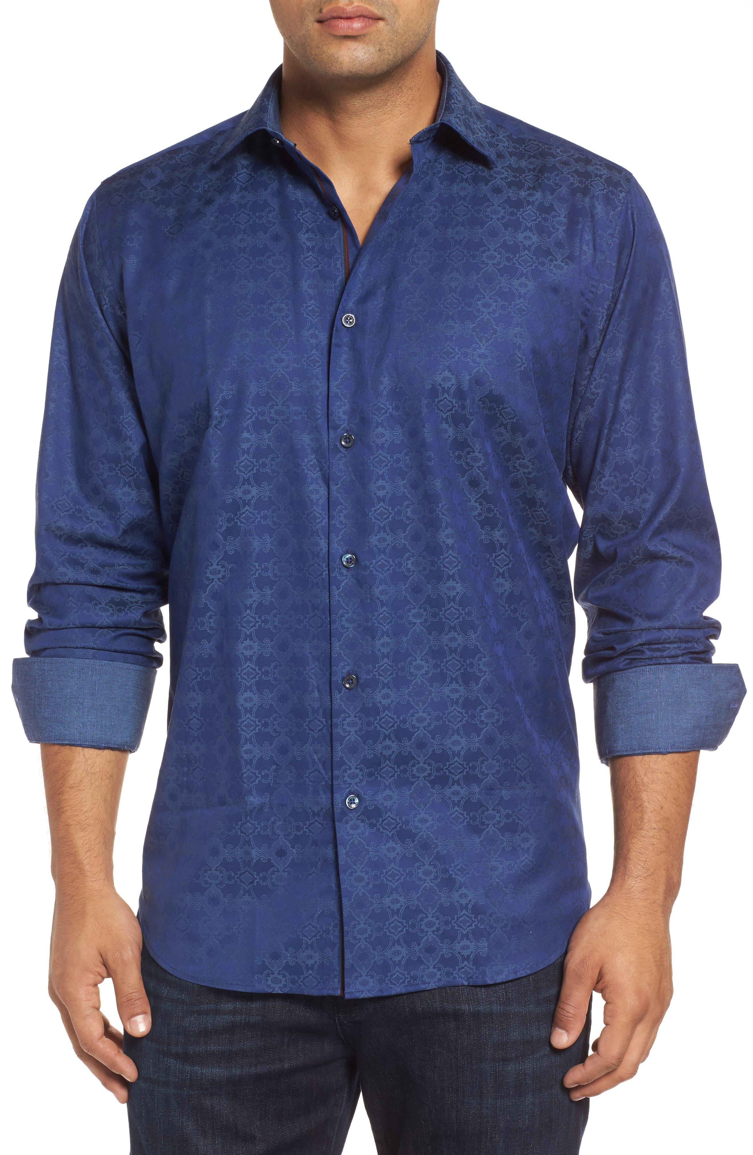 Classic Fit Filigree Jacquard Sport Shirt,                         Main,                         color, Night Blue