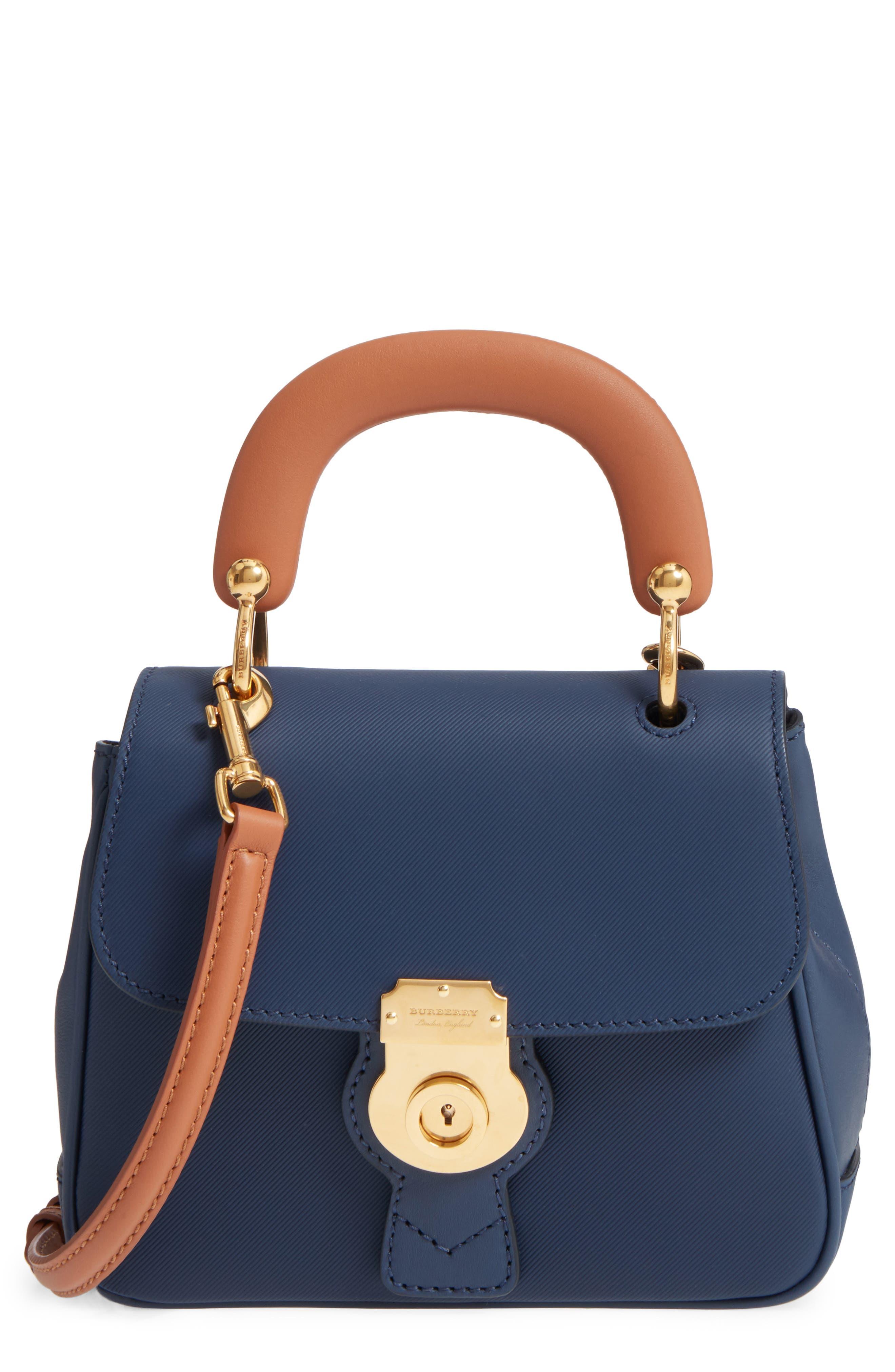 Medium DK88 Leather Satchel,                         Main,                         color, Ink Blue