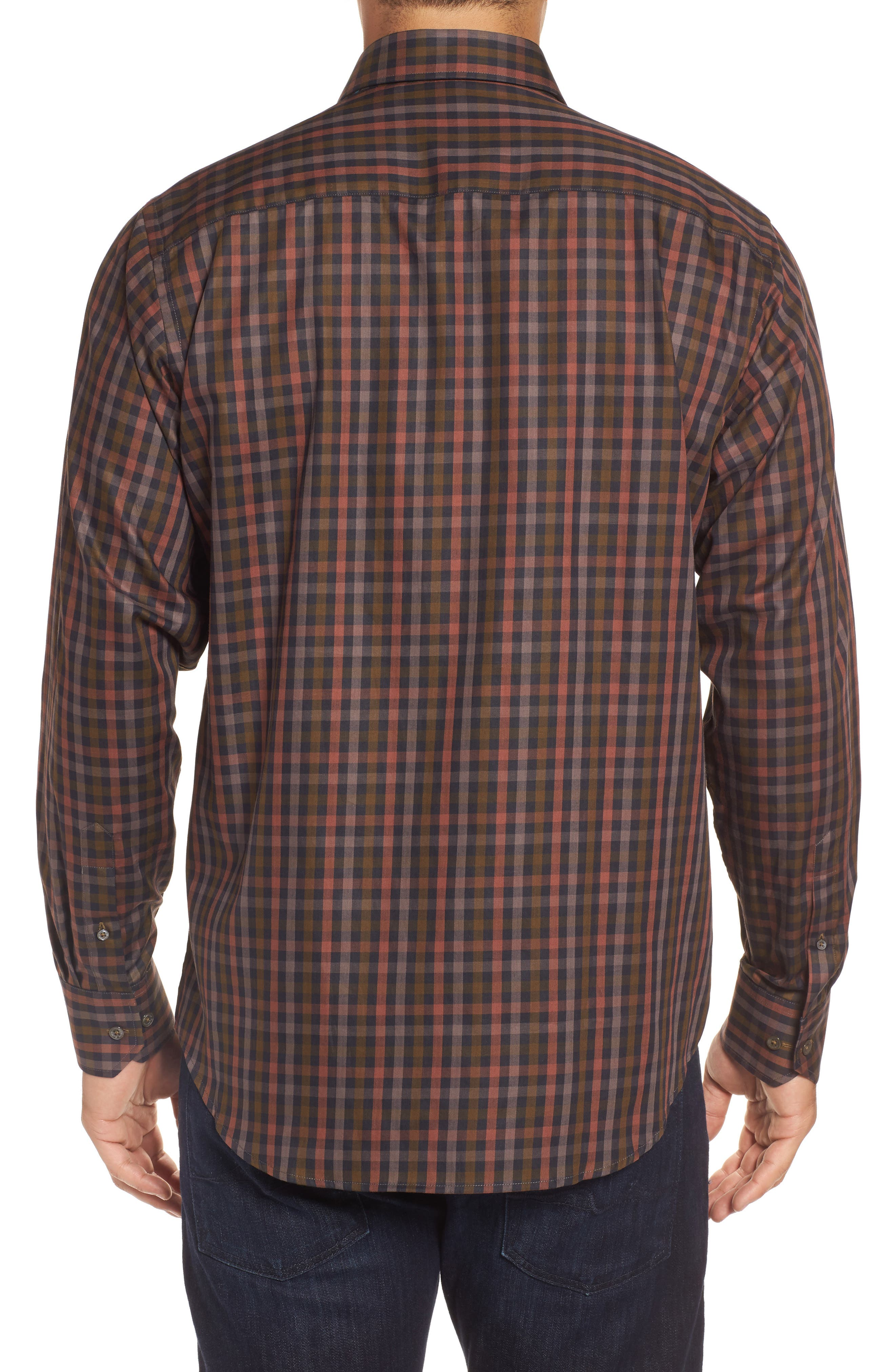 Classic Fit Check Twill Sport Shirt,                             Alternate thumbnail 2, color,                             Khaki