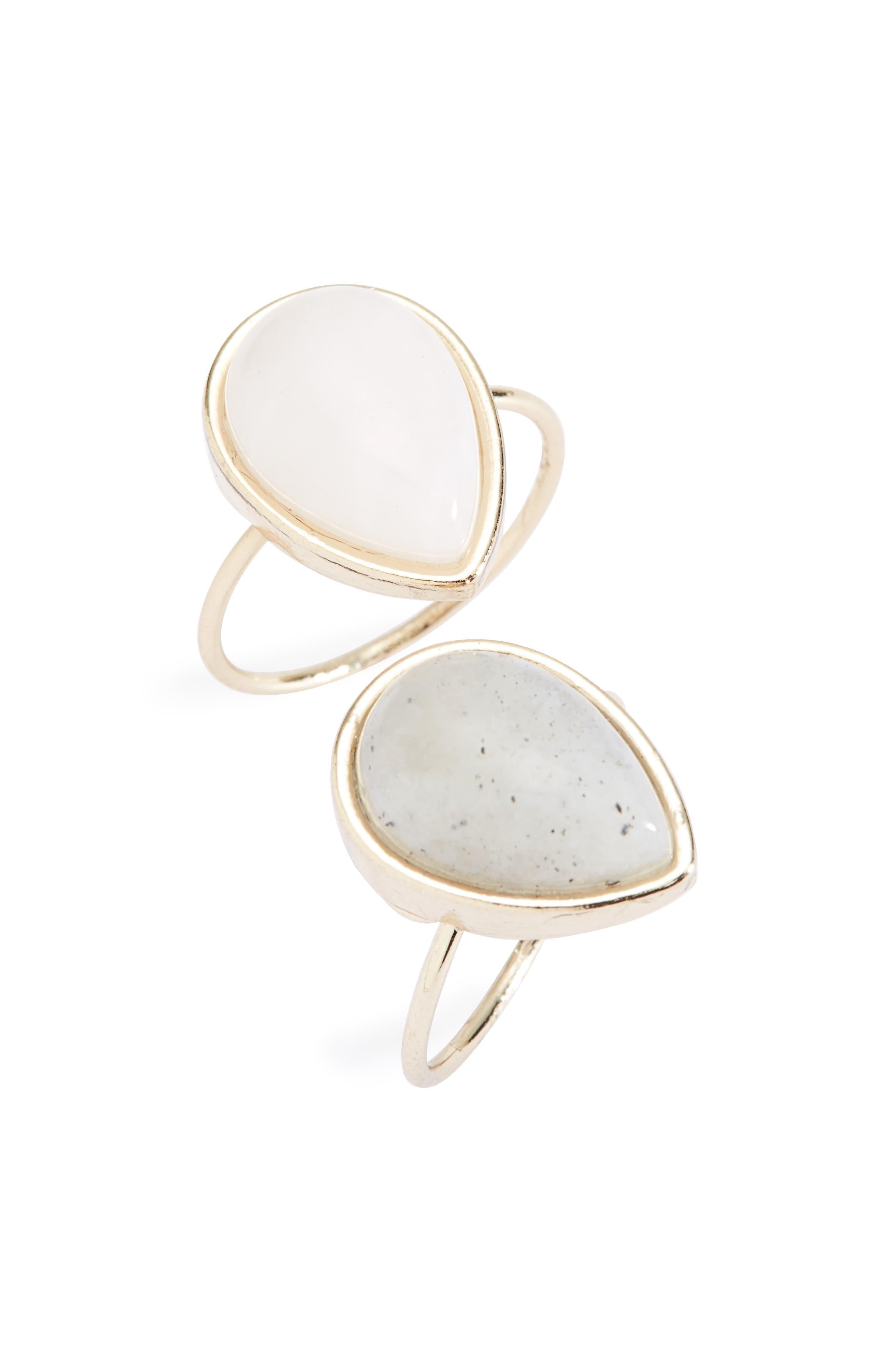 Stone Teardrop Ring,                             Main thumbnail 1, color,                             Gold Multi