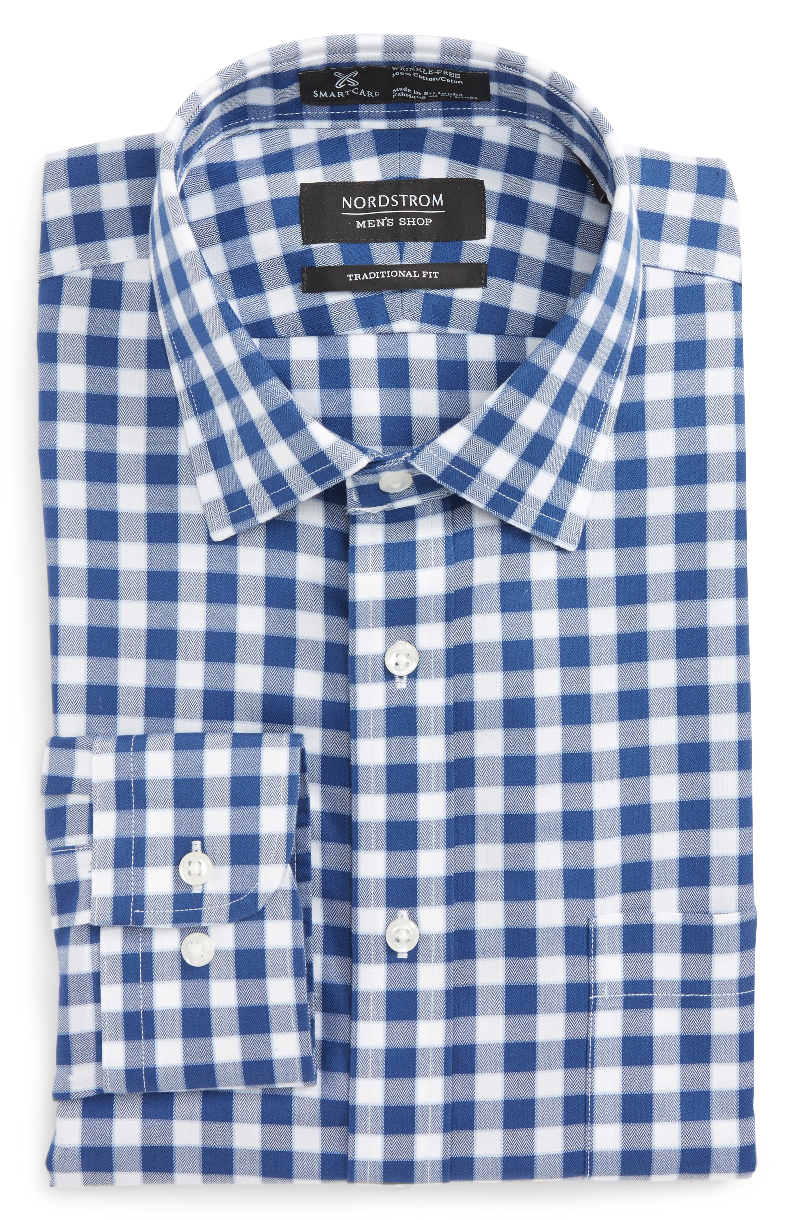 Smartcare<sup>™</sup> Traditional Fit Check Dress Shirt,                         Main,                         color, Navy Medieval