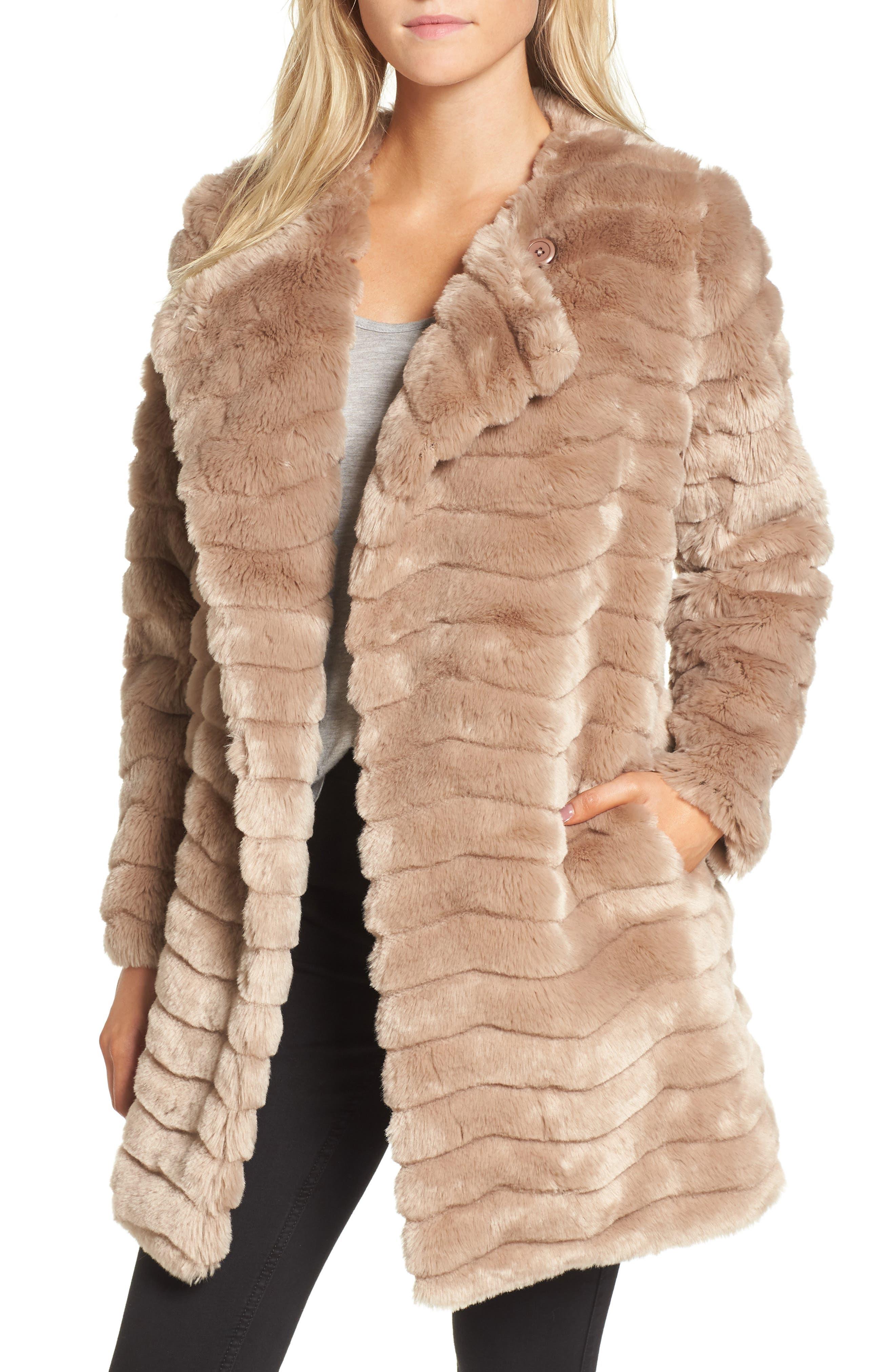 McCoy Faux Fur Coat,                         Main,                         color, Camel