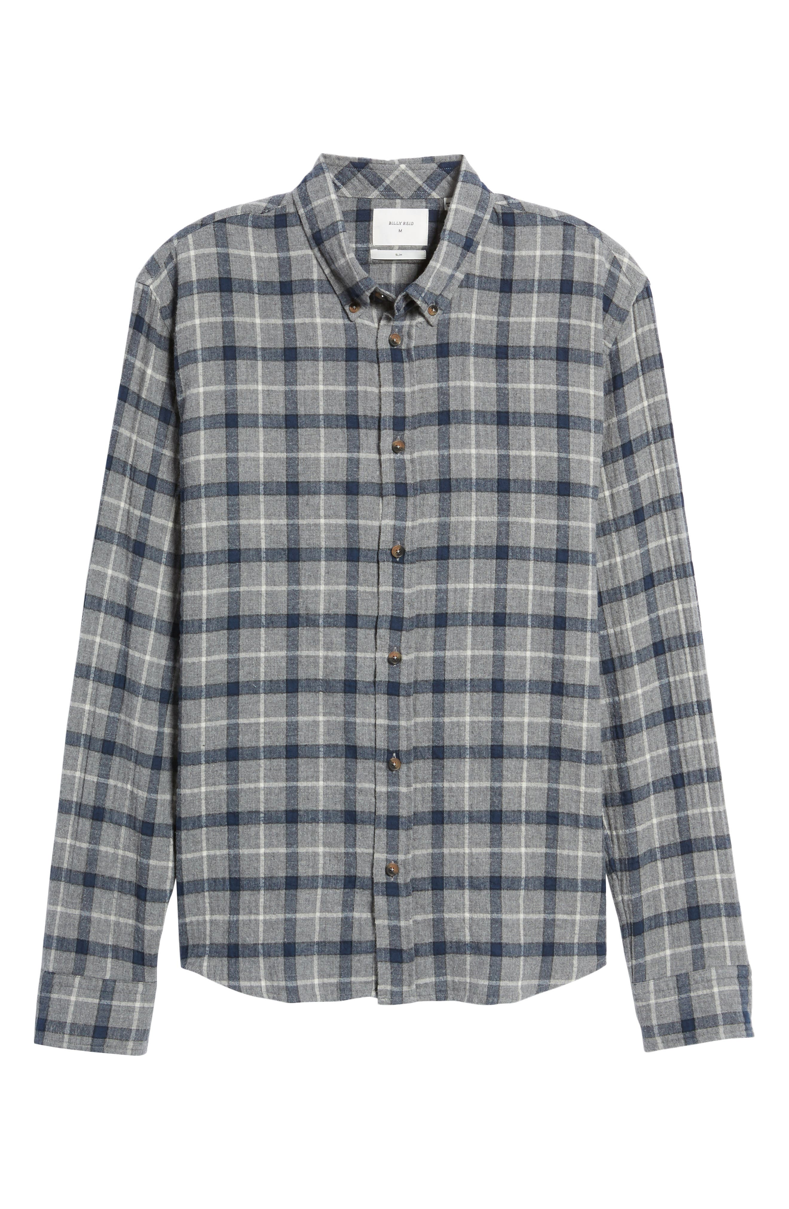 Murphy Slim Fit Plaid Sport Shirt,                             Alternate thumbnail 6, color,                             Grey/ Navy