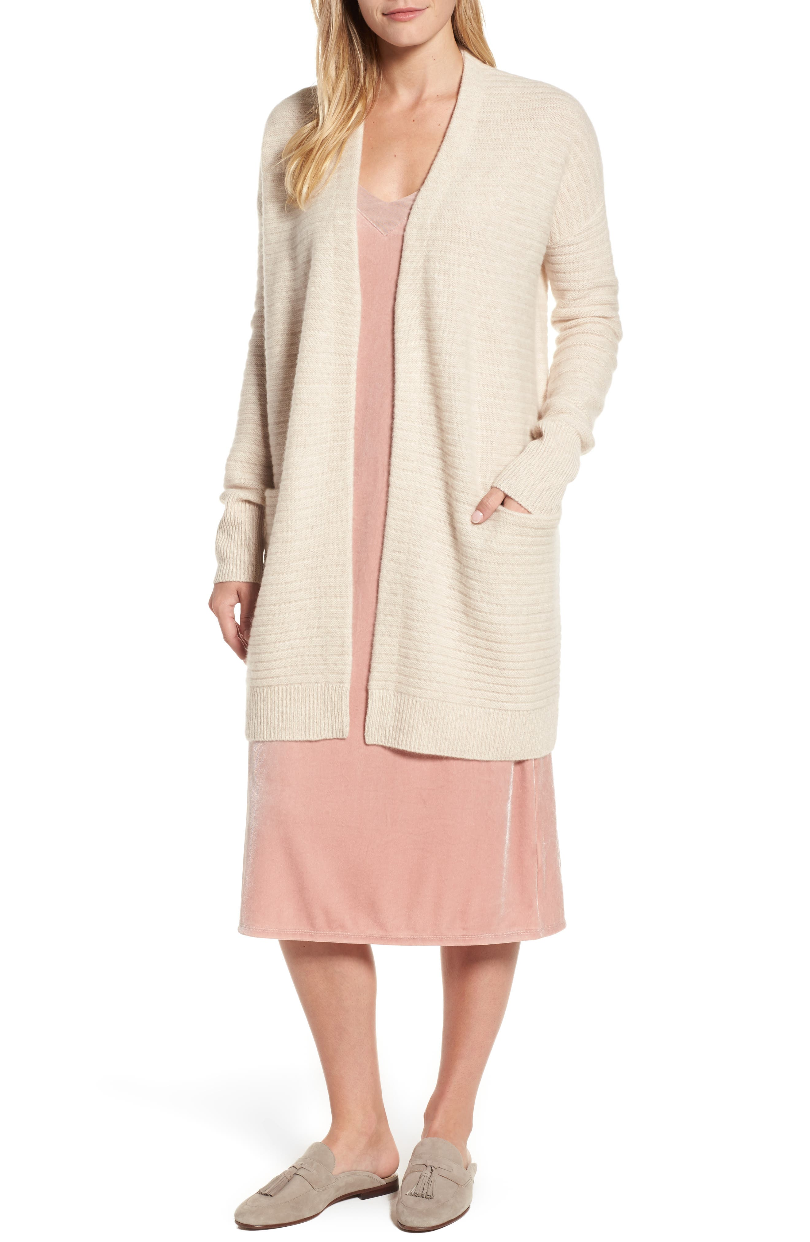 Ribbed Cashmere Cardigan,                         Main,                         color, Heather Oatmeal