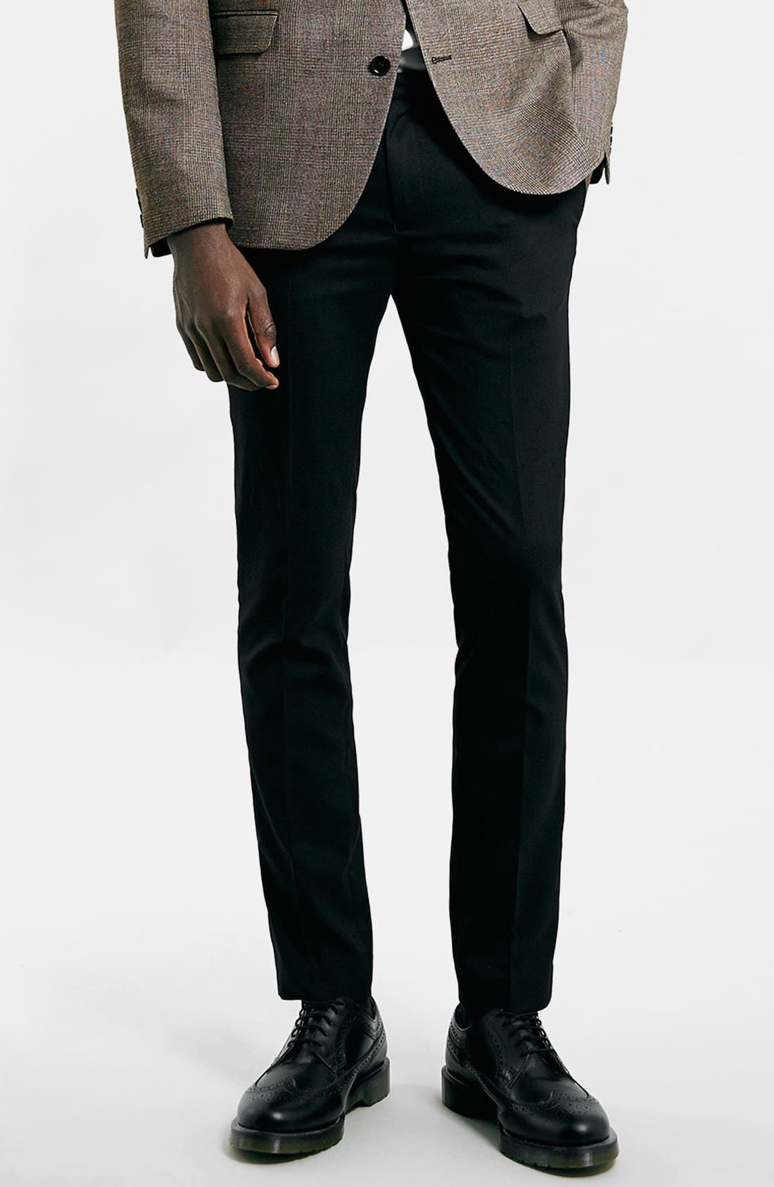 Ultra Skinny Black Suit Trousers,                             Main thumbnail 1, color,                             Black