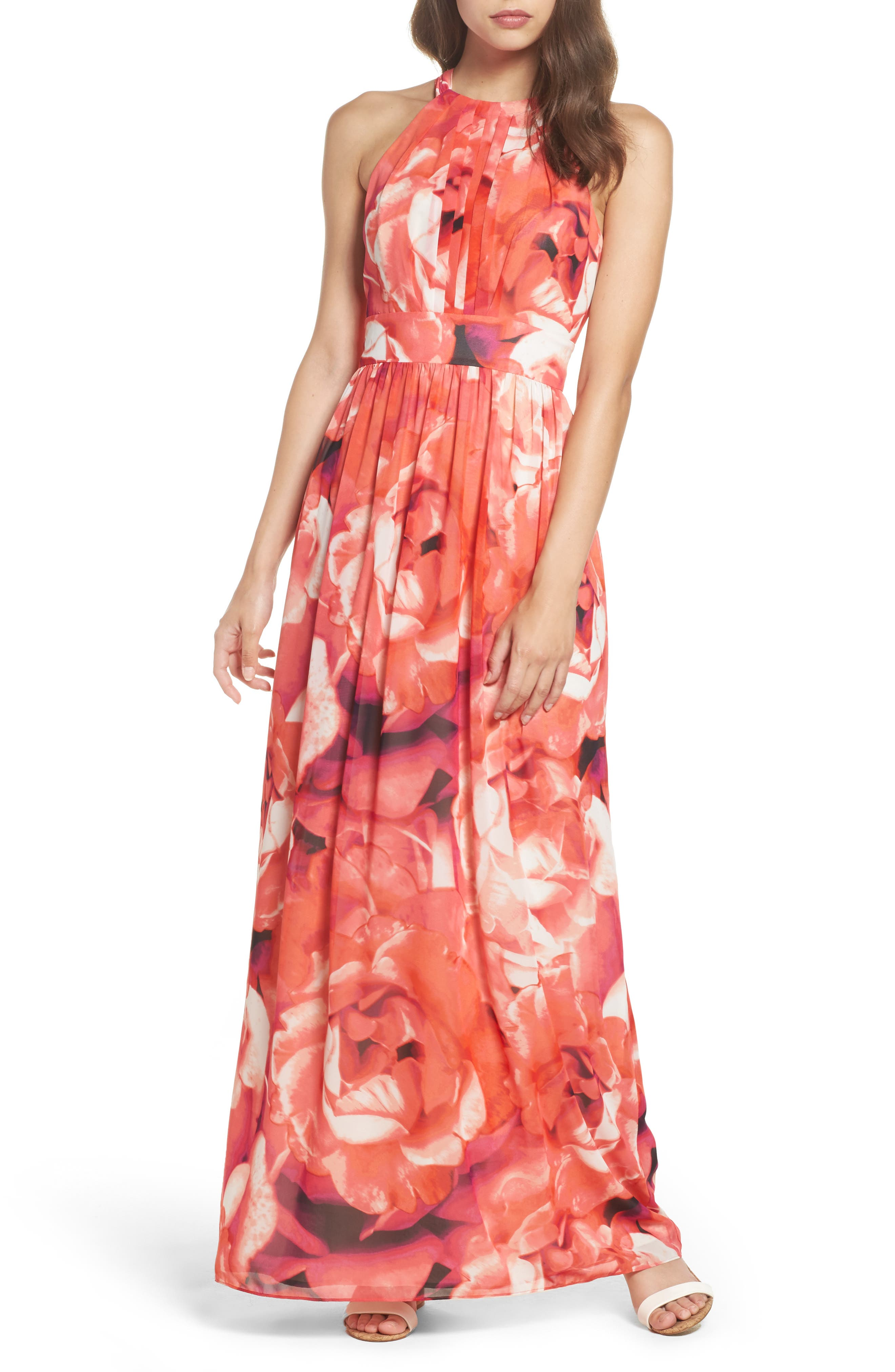 Print Chiffon Fit & Flare Maxi Dress,                         Main,                         color, Pink