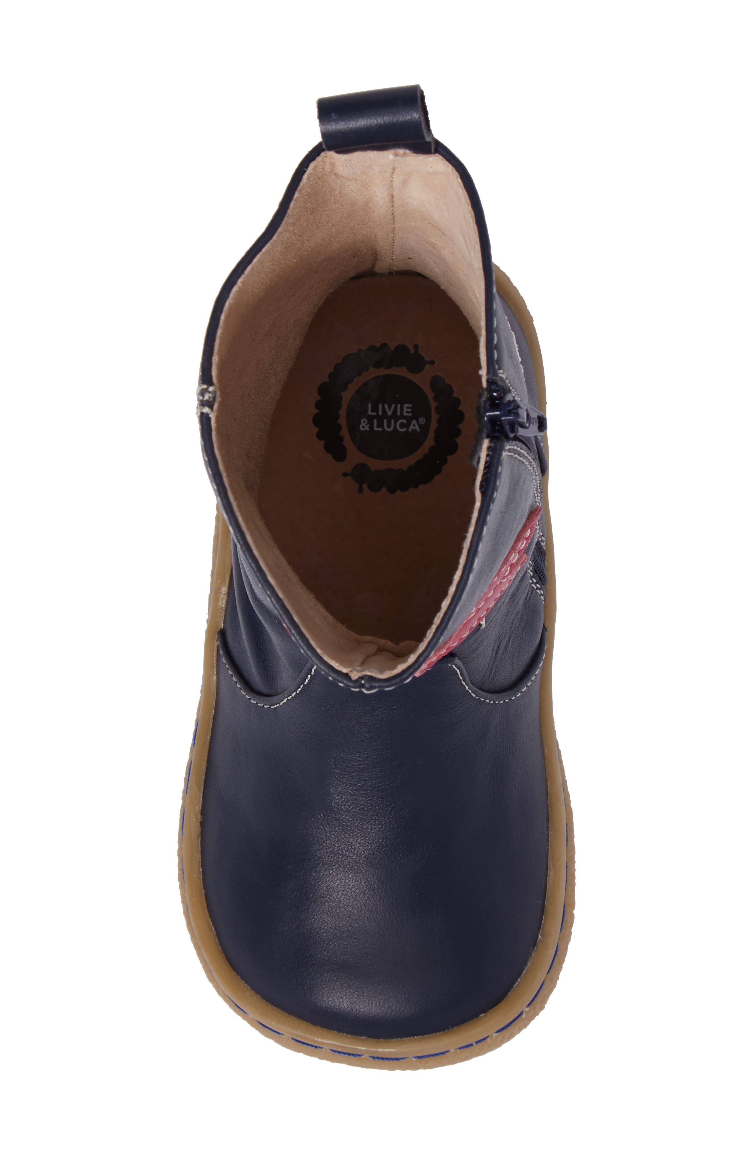 Pio Pio Bird Appliqué Boot,                             Alternate thumbnail 5, color,                             Navy Blue