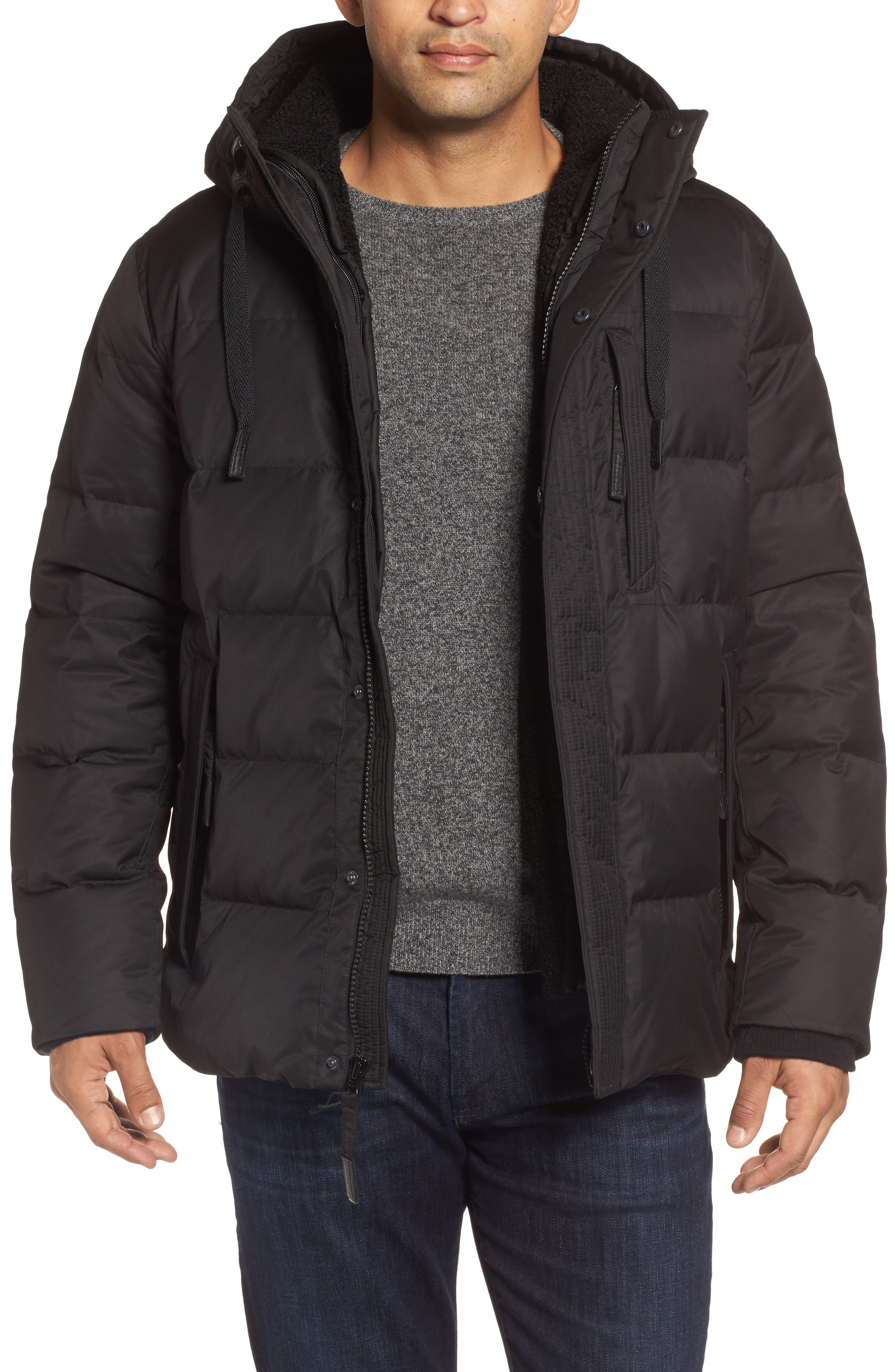 Groton Slim Down Jacket with Faux Shearling Lining,                         Main,                         color, Black
