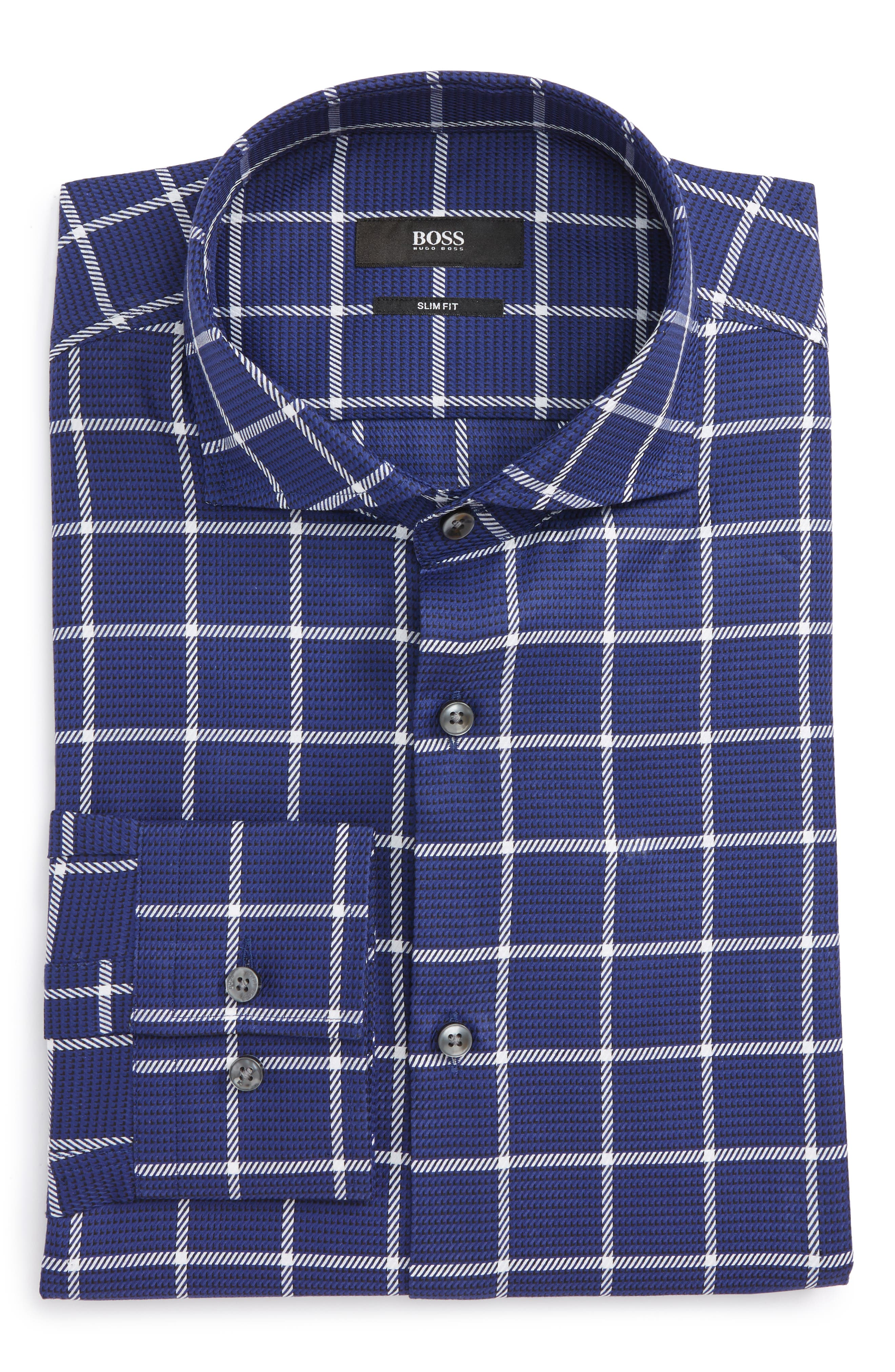 Jason Slim Fit Windowpane Dress Shirt,                             Main thumbnail 1, color,                             Blue
