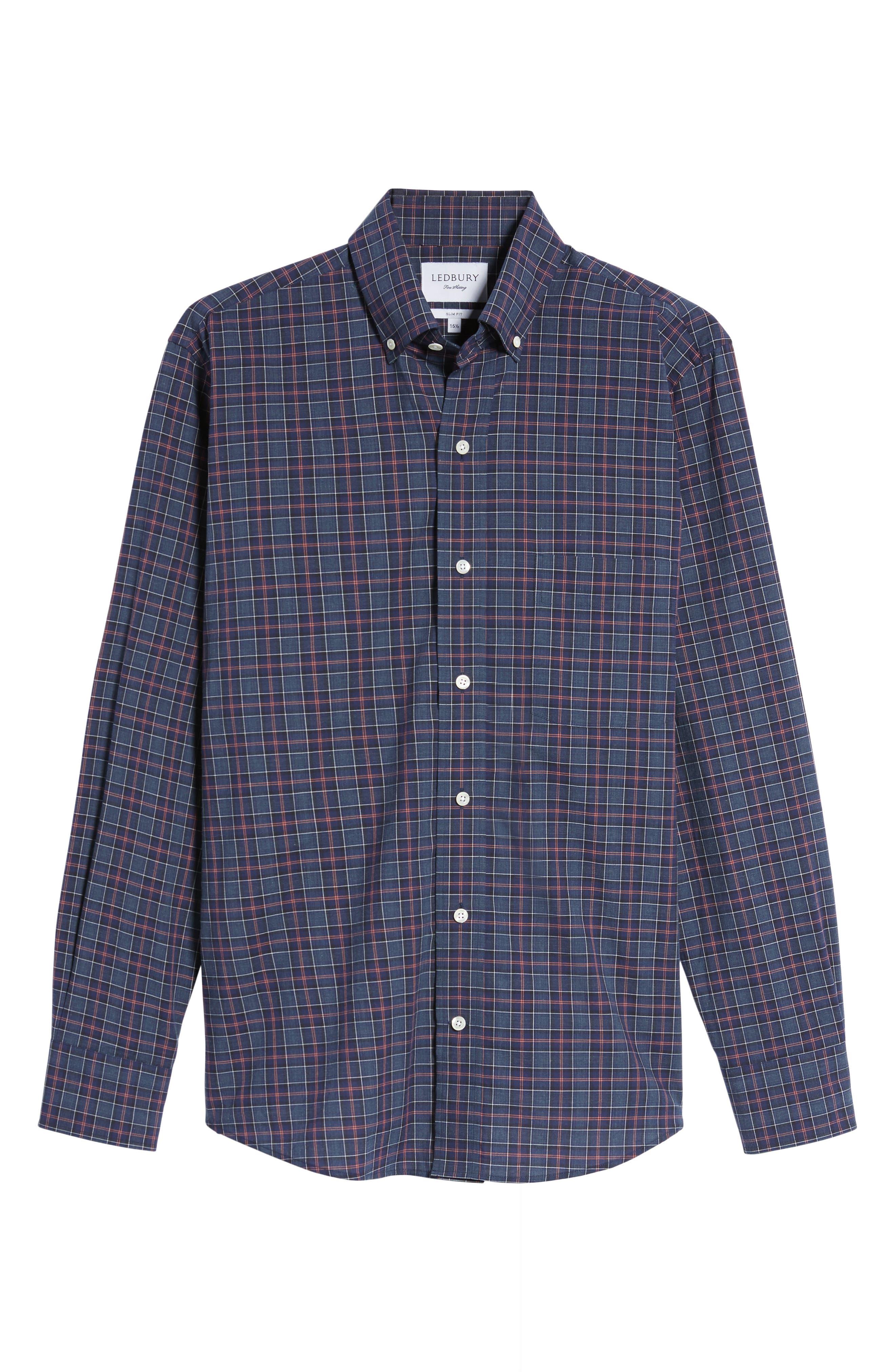 Slim Fit Plaid Sport Shirt,                             Alternate thumbnail 6, color,                             Navy