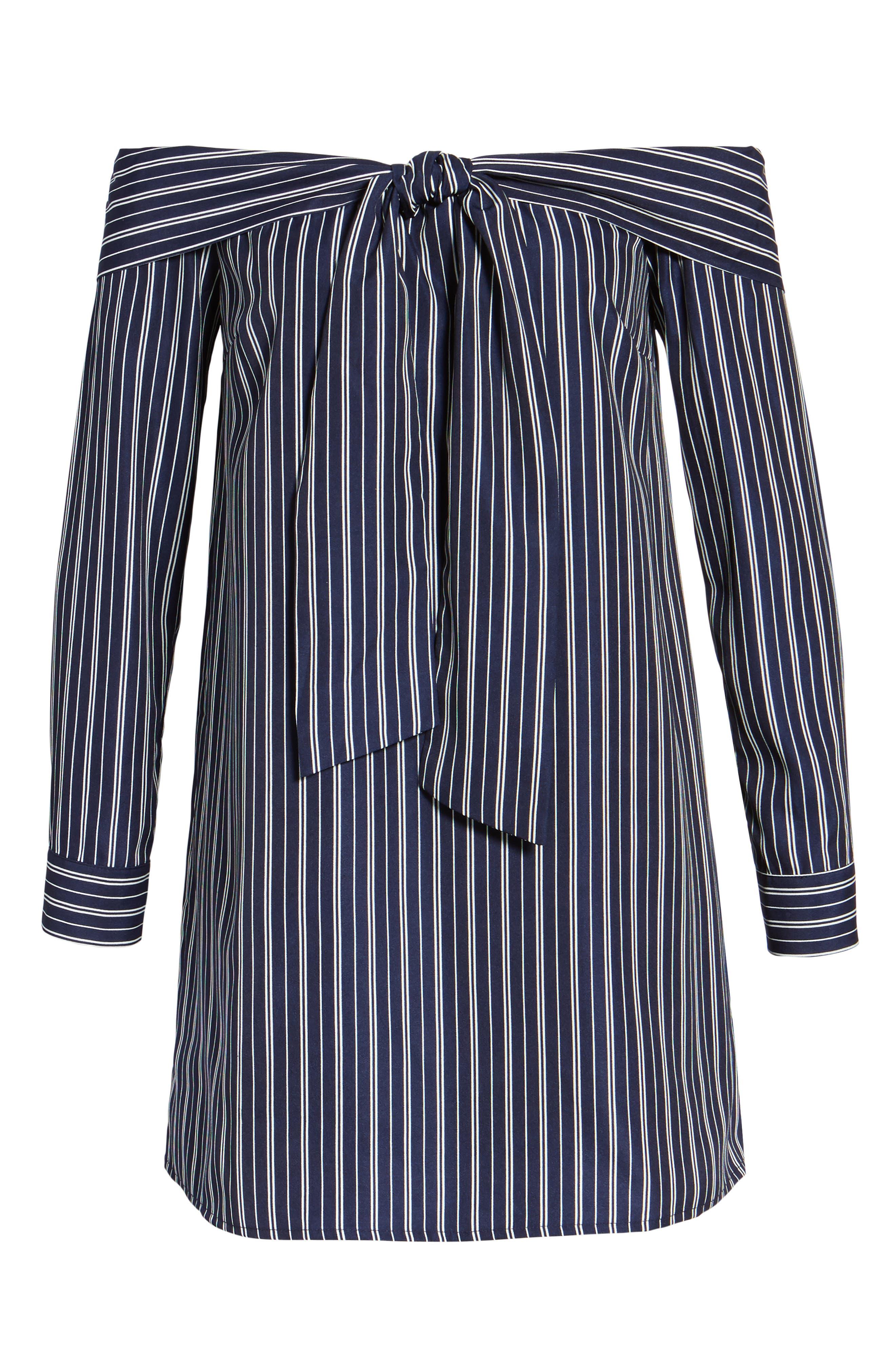 Off the Shoulder Shirtdress,                             Alternate thumbnail 6, color,                             Navy Stripe