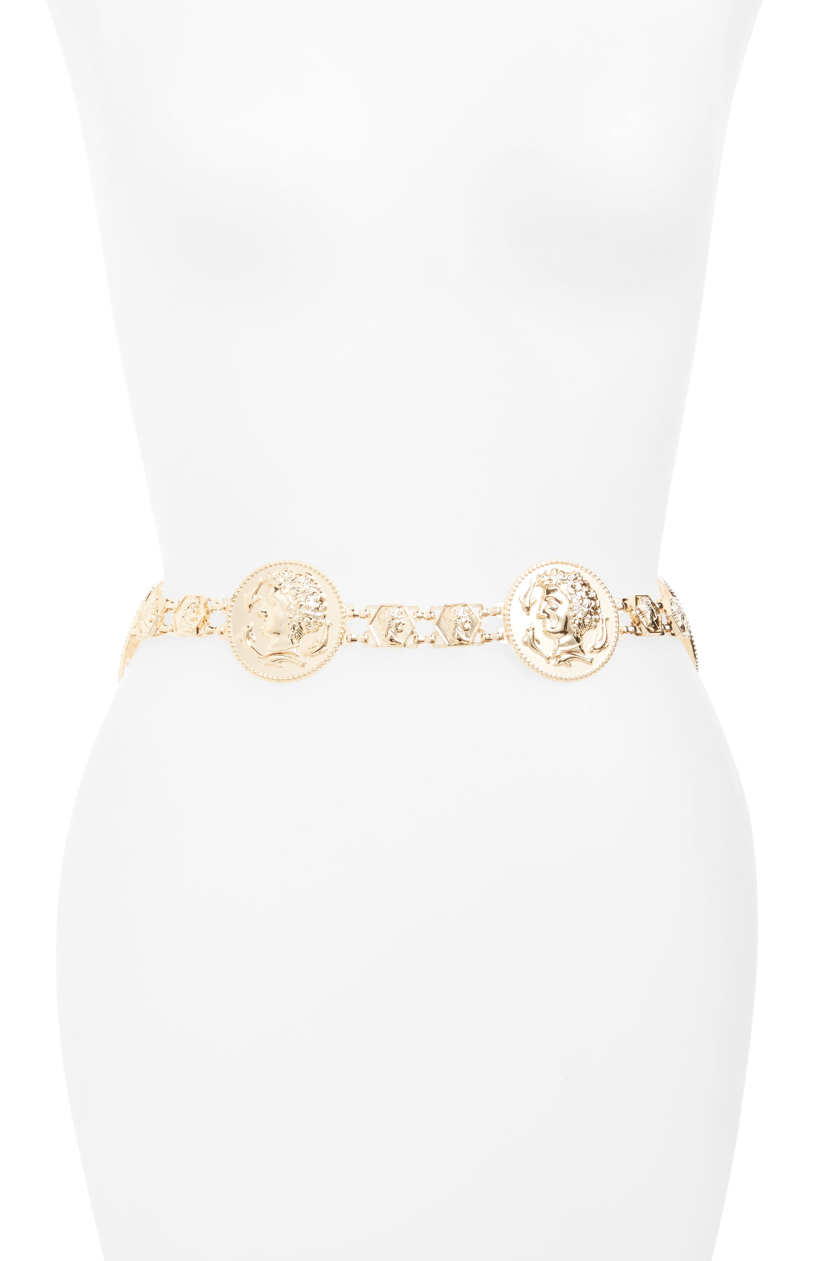 Amici Accessories Coin Medallion Chain Belt
