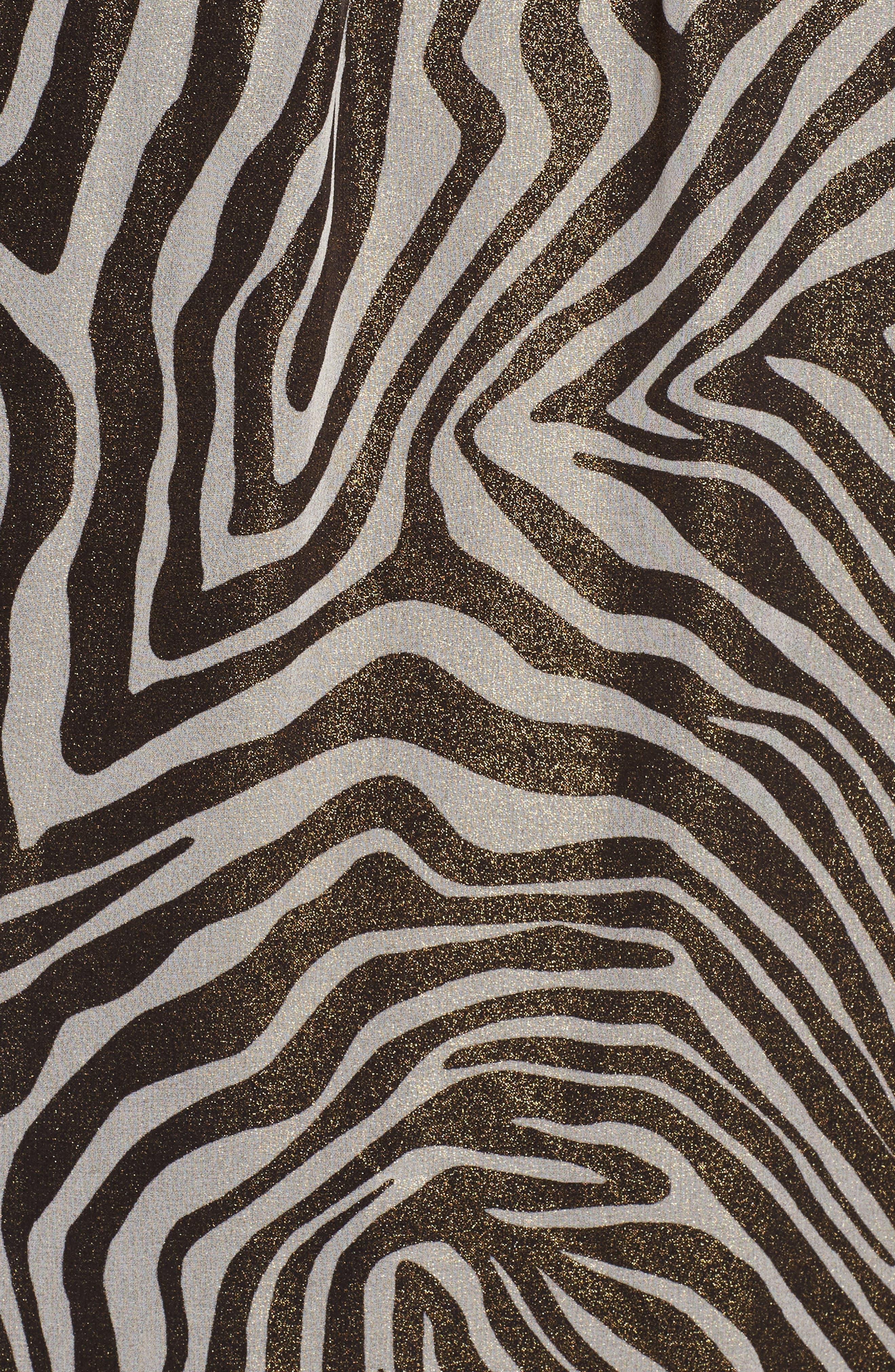 Flounce Sleeve Shimmer Print Top,                             Alternate thumbnail 5, color,                             Black/White