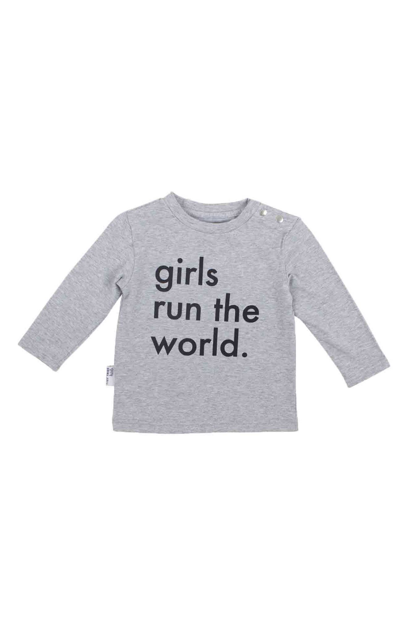 Girls Run The World Tee & Jogger Pants Set,                             Alternate thumbnail 2, color,                             Grey And Black