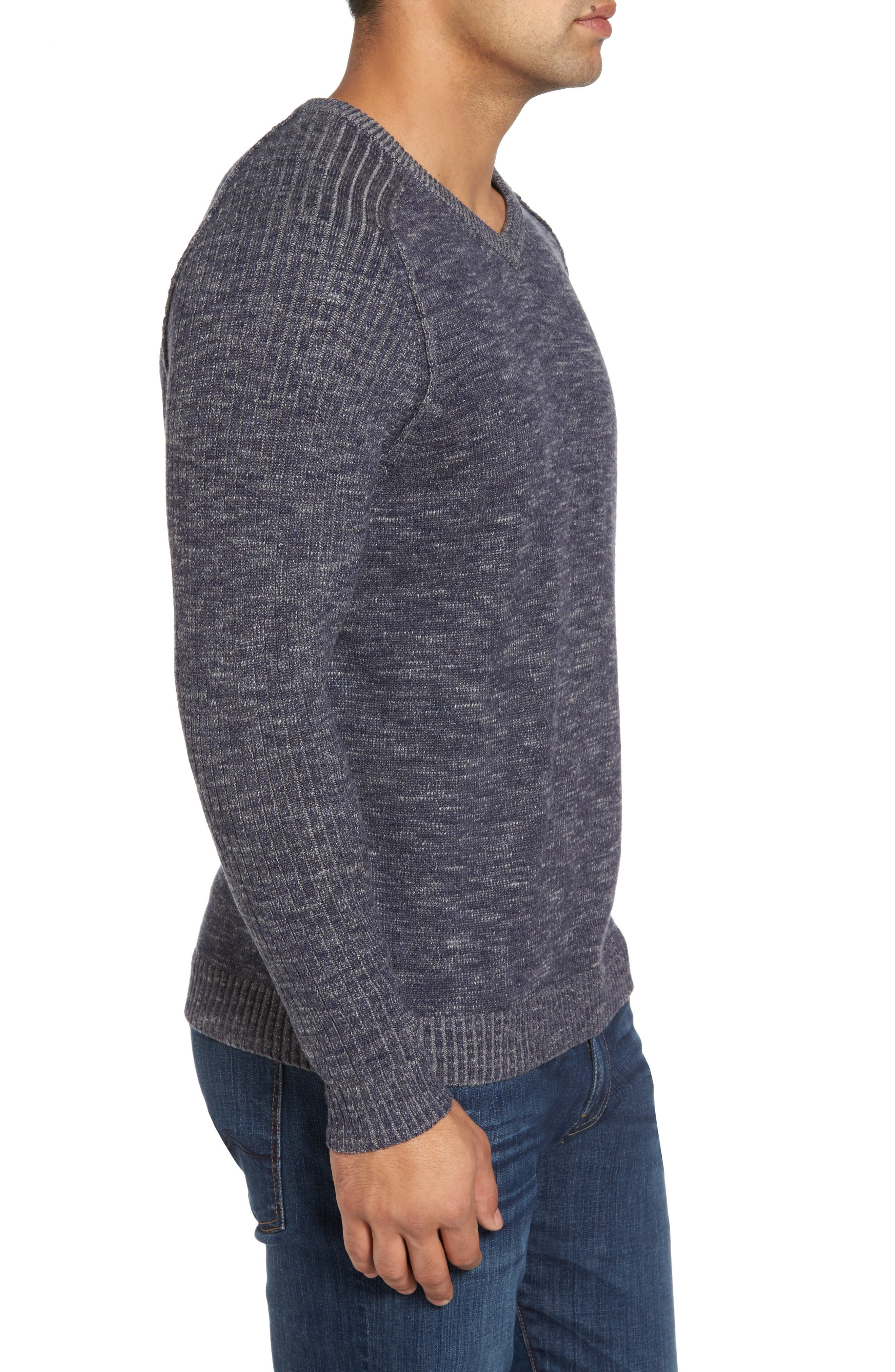 Gran Rey Flip Reversible Cotton & Wool Sweater,                             Alternate thumbnail 3, color,                             Ocean Deep Heather