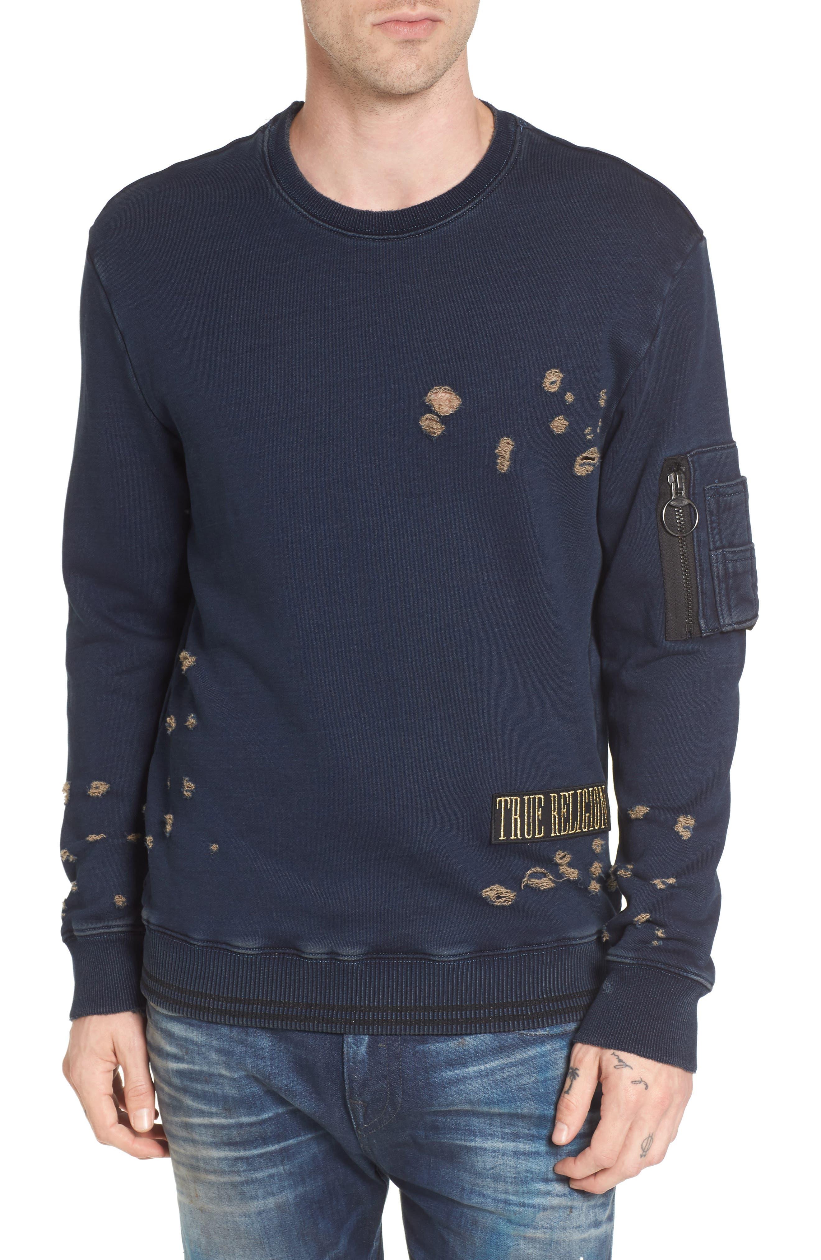 True Religion Brand Jeans Distressed Sweatshirt