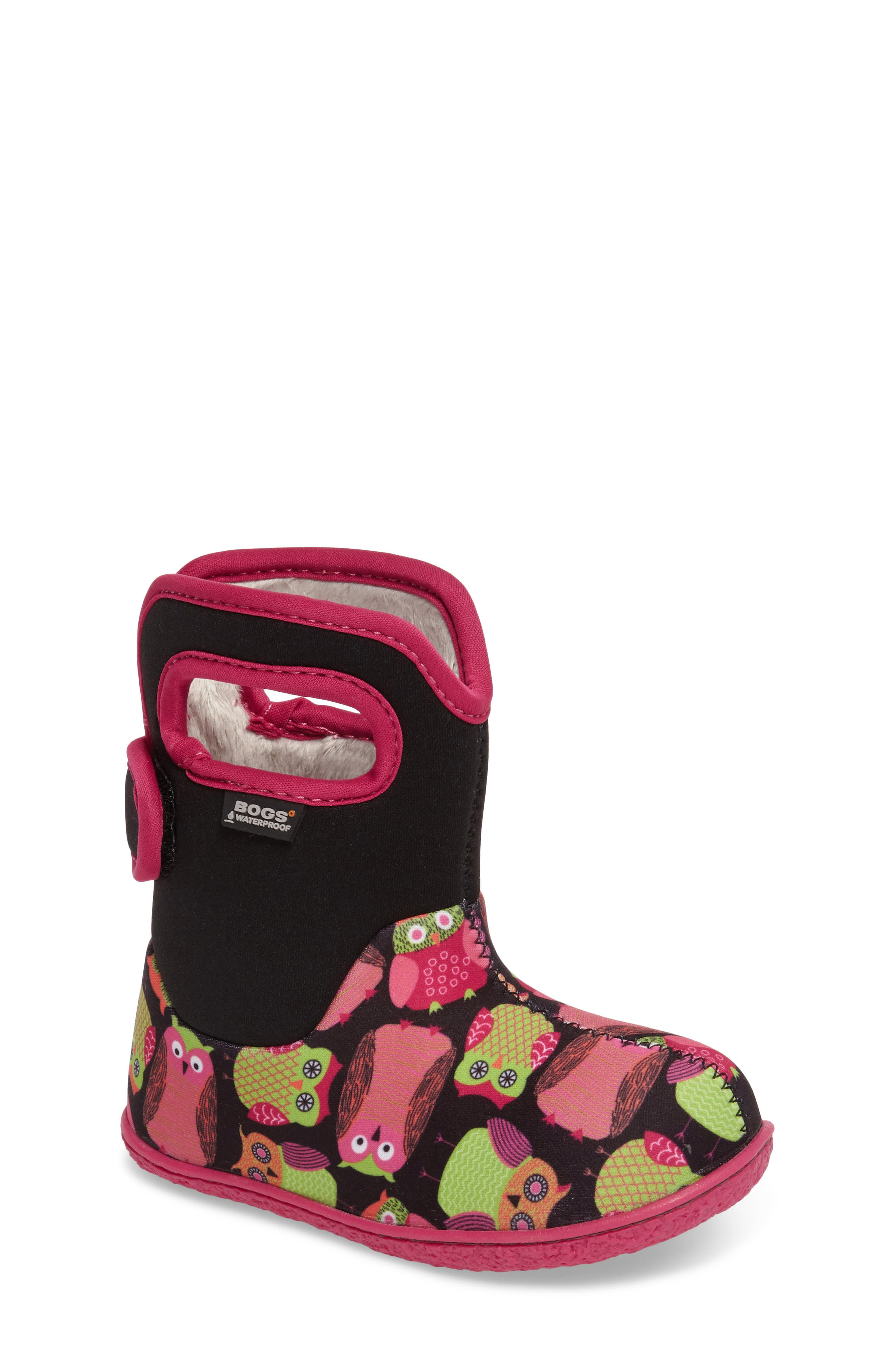 Baby Bogs Classic Owls Insulated Waterproof Boot,                         Main,                         color, Black Multi