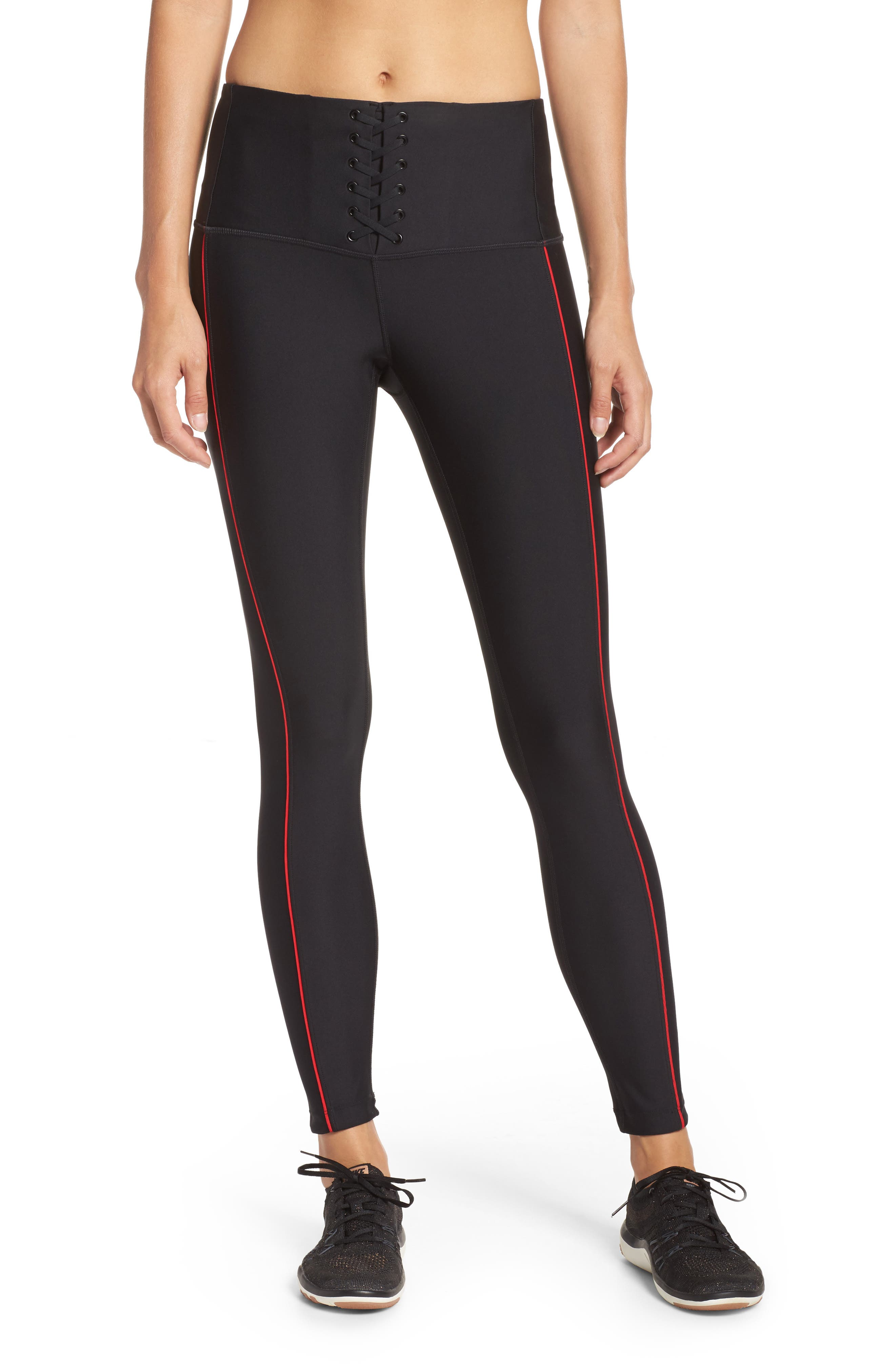 Alternate Image 1 Selected - Zella High Waist Lace-Up Ankle Leggings