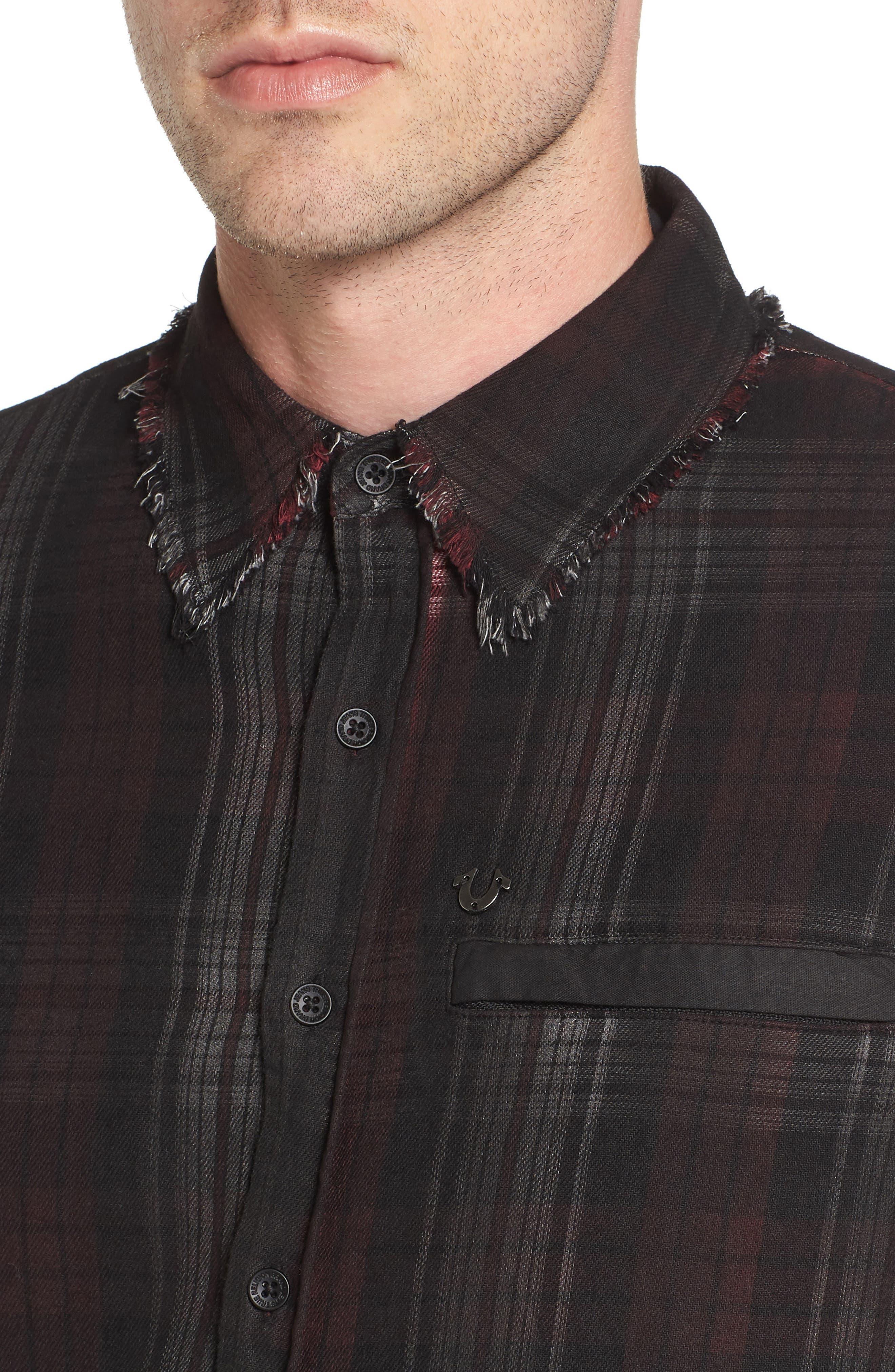 Coated Punk Woven Shirt,                             Alternate thumbnail 4, color,                             Oxblood Plaid