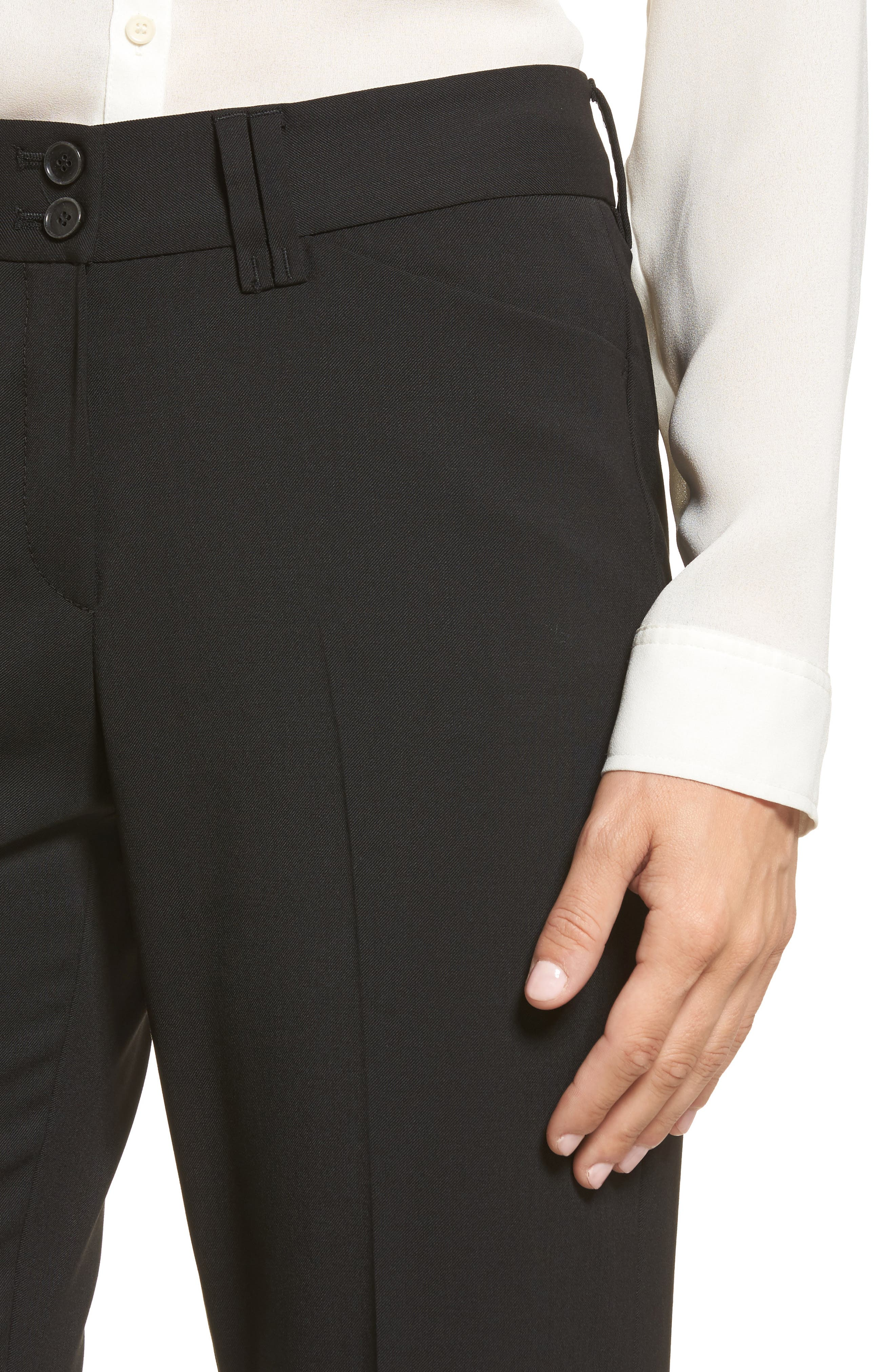 Straight Leg Trousers,                             Alternate thumbnail 4, color,                             Black