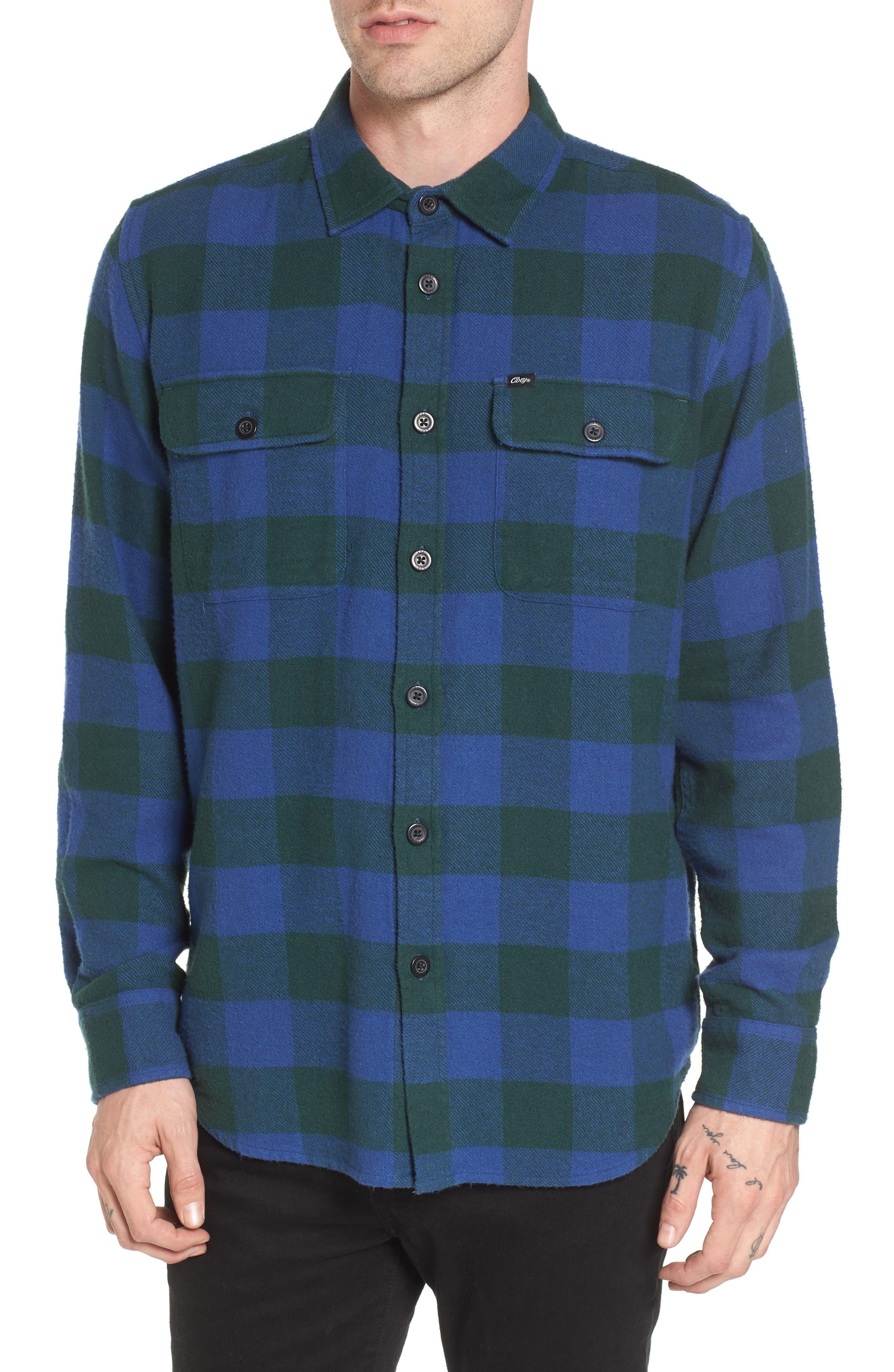 Trent Check Woven Shirt,                         Main,                         color, Navy Multi